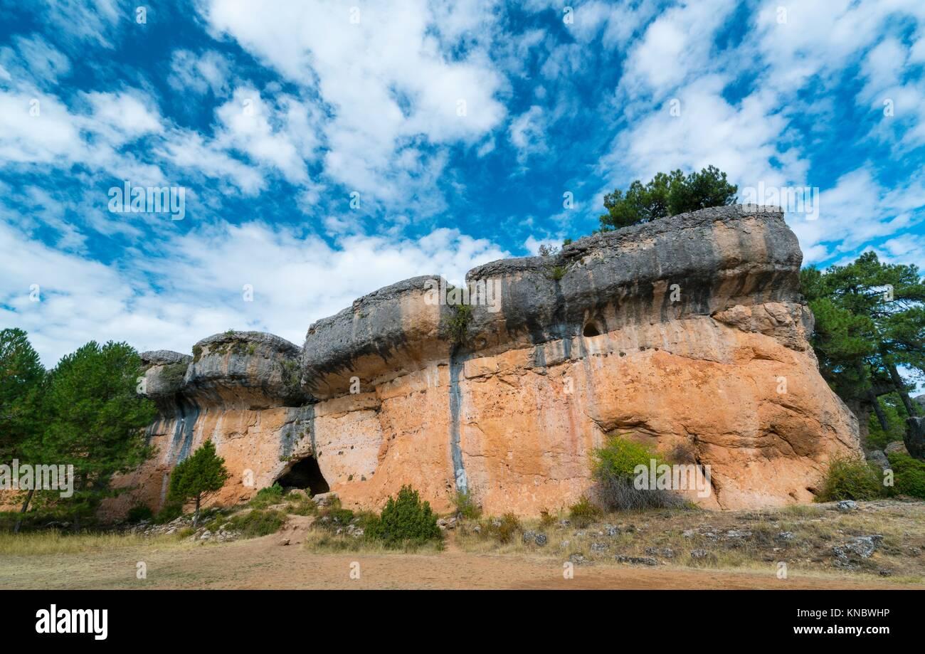 Rock Walls, Ciudad Encantada, Serranía de Cuenca Natural Park, Cuenca, Castilla - La Mancha, Spain, Europe. - Stock Image