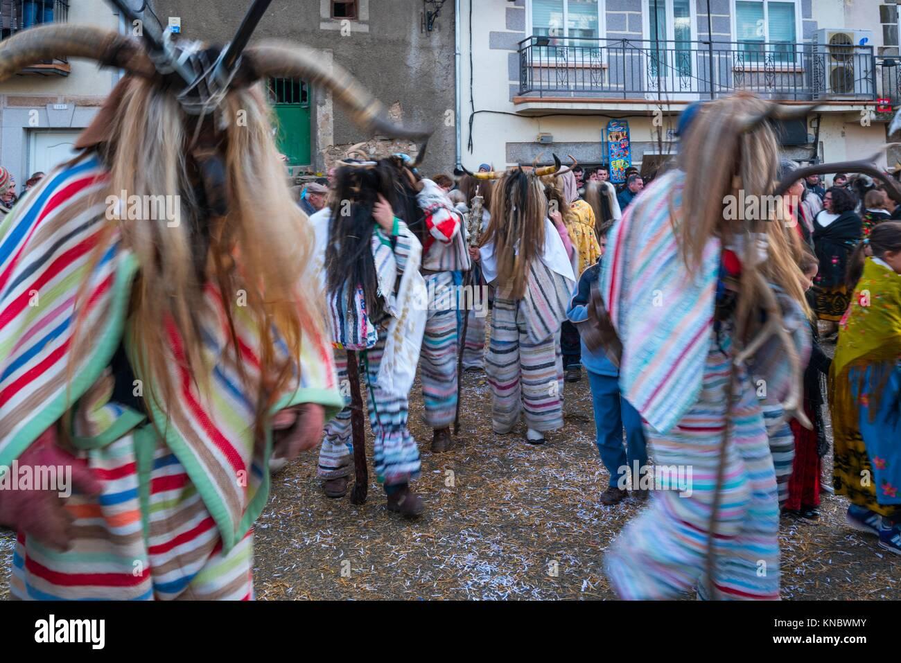 'Los Cucurrumachos'', scary looking evil carnival characters Navalosa, Avila Province, Castile-León, - Stock Image