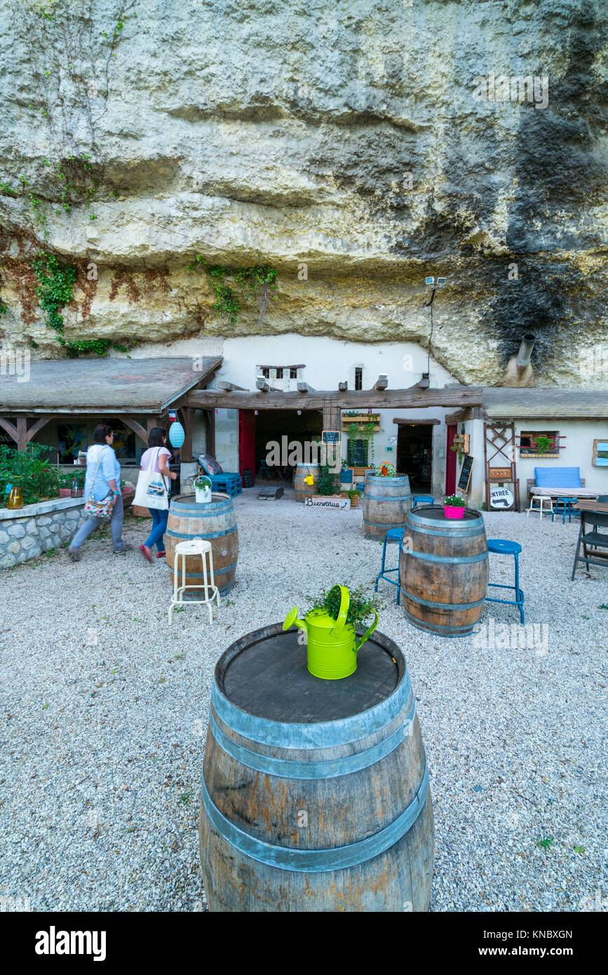Volupia Cave restaurant and wine shop, Les Caves, Charge, Indre-et-Loire Department, The Loire Valley, France, Europe. - Stock Image