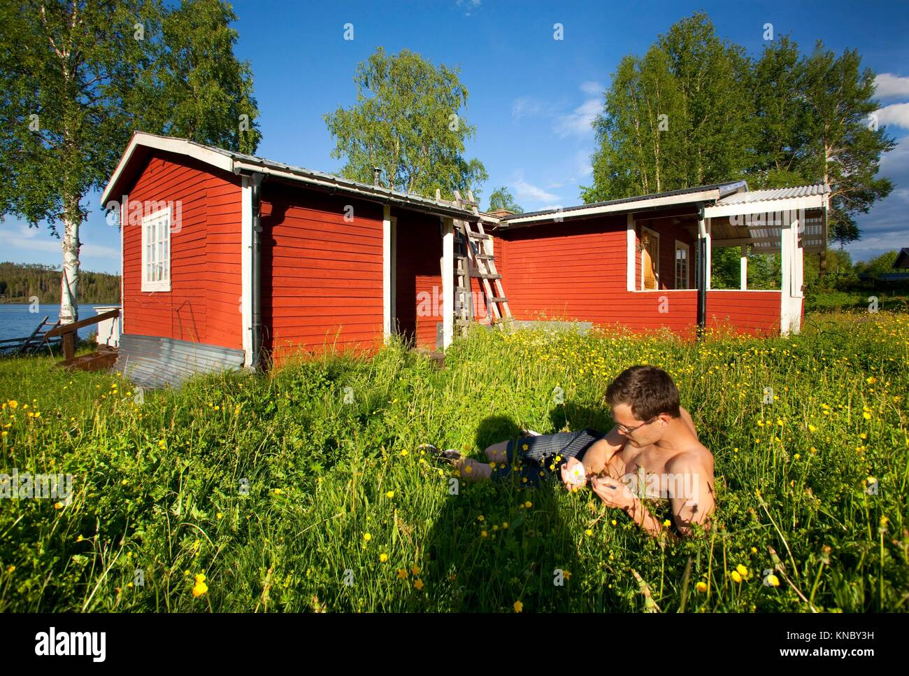 Man lying in the grass, Northern Sweden countryside. - Stock Image