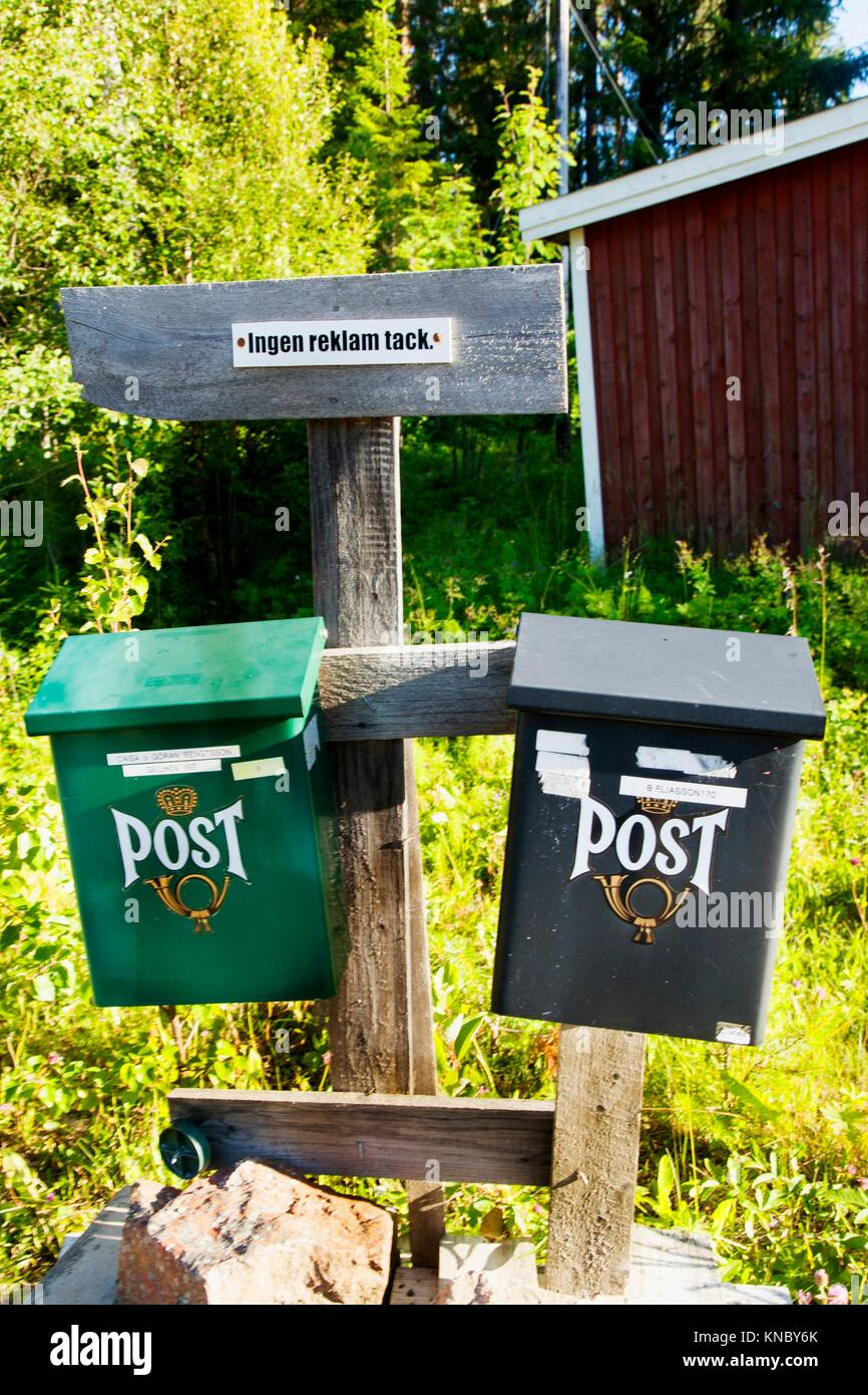 Mailboxes, Northern Sweden. - Stock Image