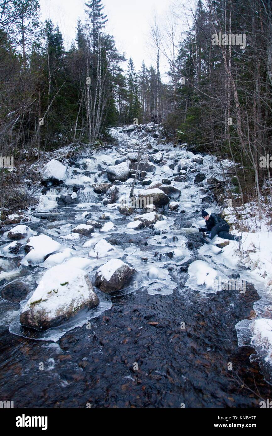 Winter stream Northern Sweden. - Stock Image