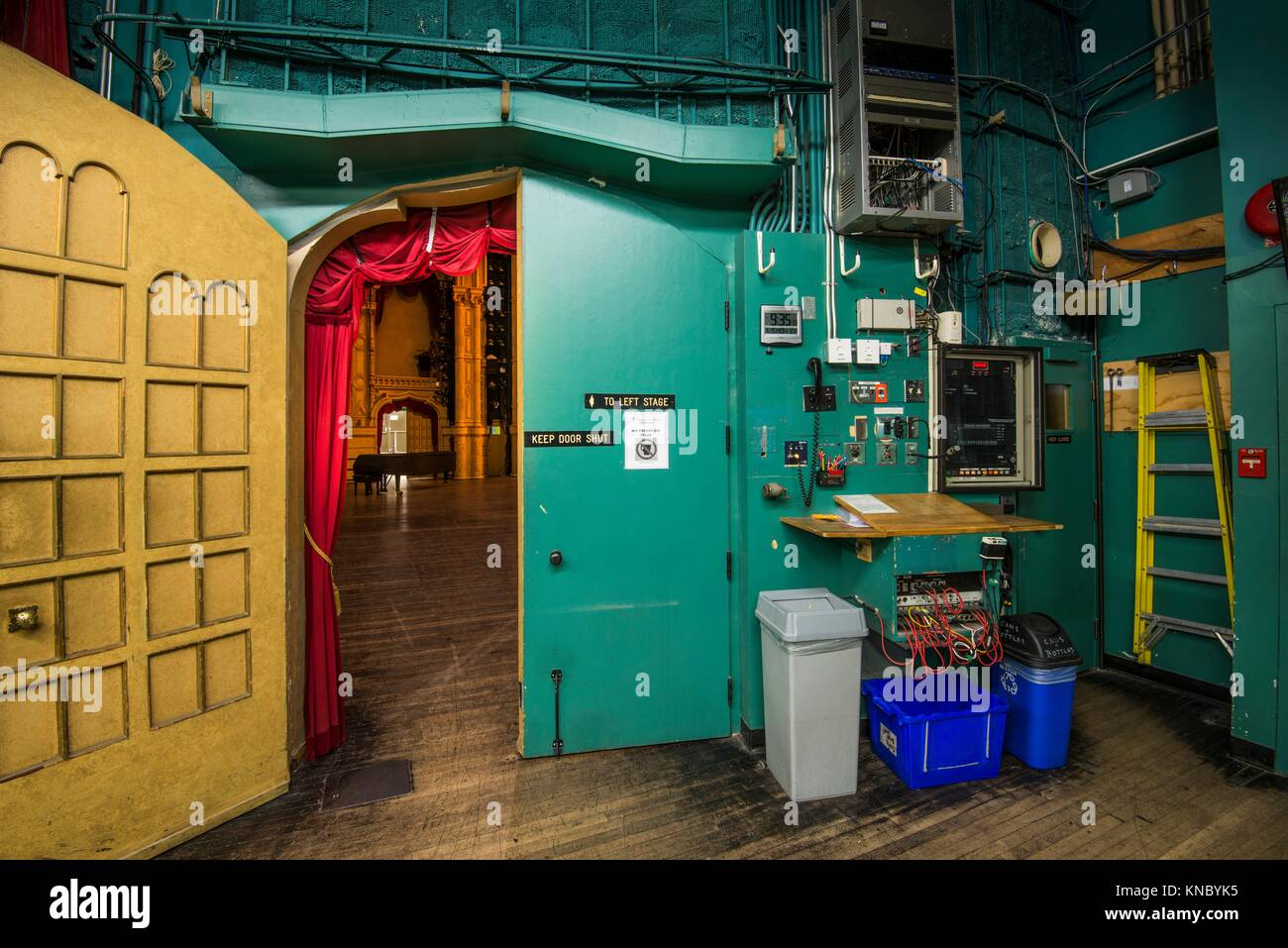 Backstage at the Orpheum Theatre, downtown Vancouver, BC, Canada. - Stock Image