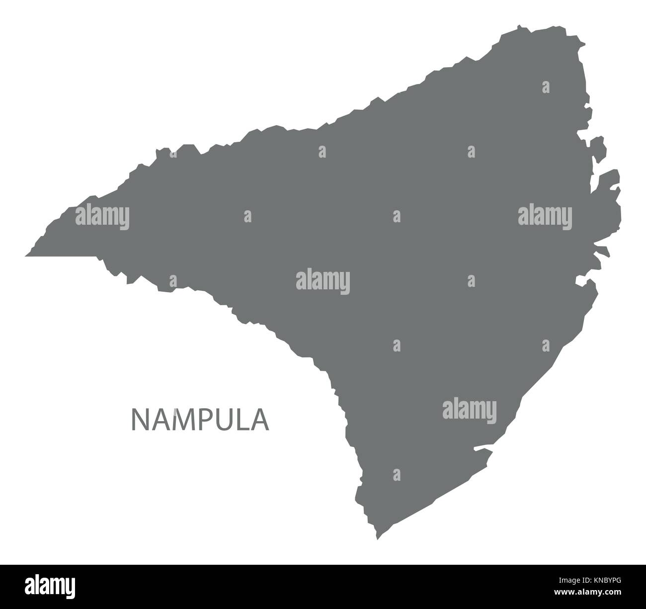 Nampula map of Mozambique grey illustration silhouette shape Stock