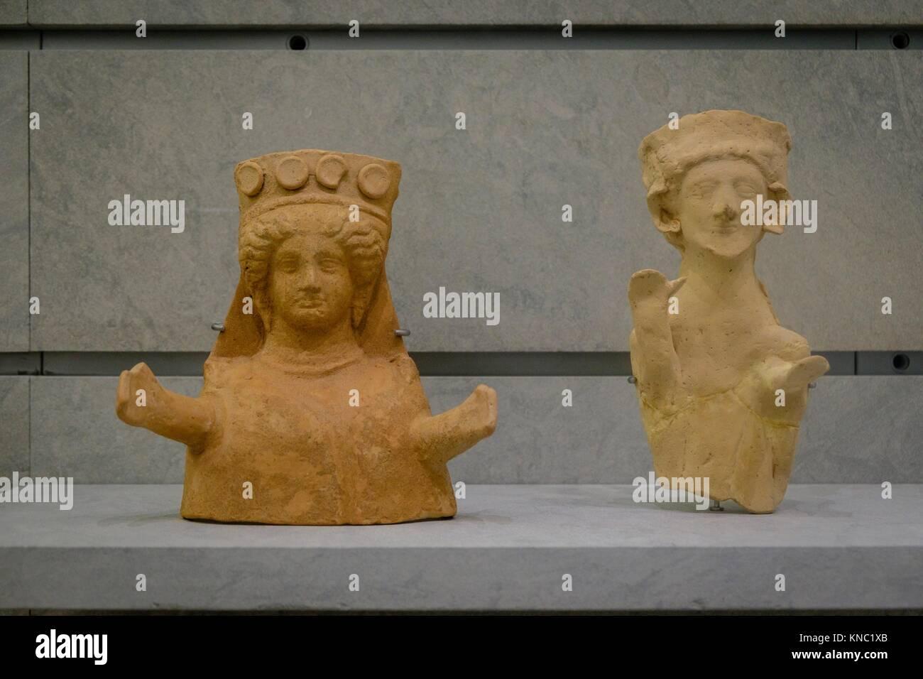 Male figure and female bust, 450-425 b.C., Ibiza and Formentera Archeological Museum, Patrimonio de la Humanidad - Stock Image