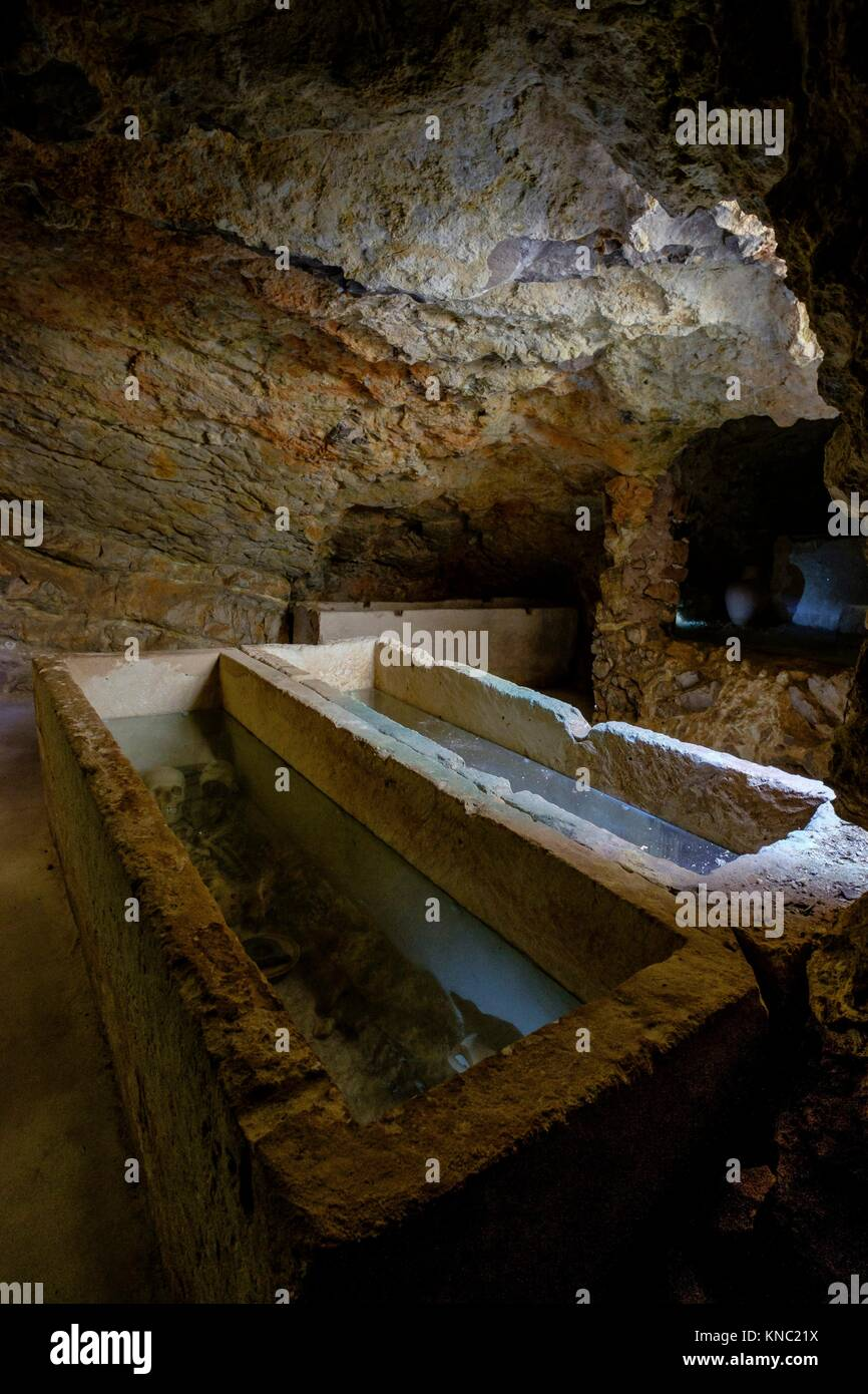 Hypogeum, Punic necropolis of Puig des Molins, Ibiza and Formentera Archeological Museum, Patrimonio de la Humanidad - Stock Image