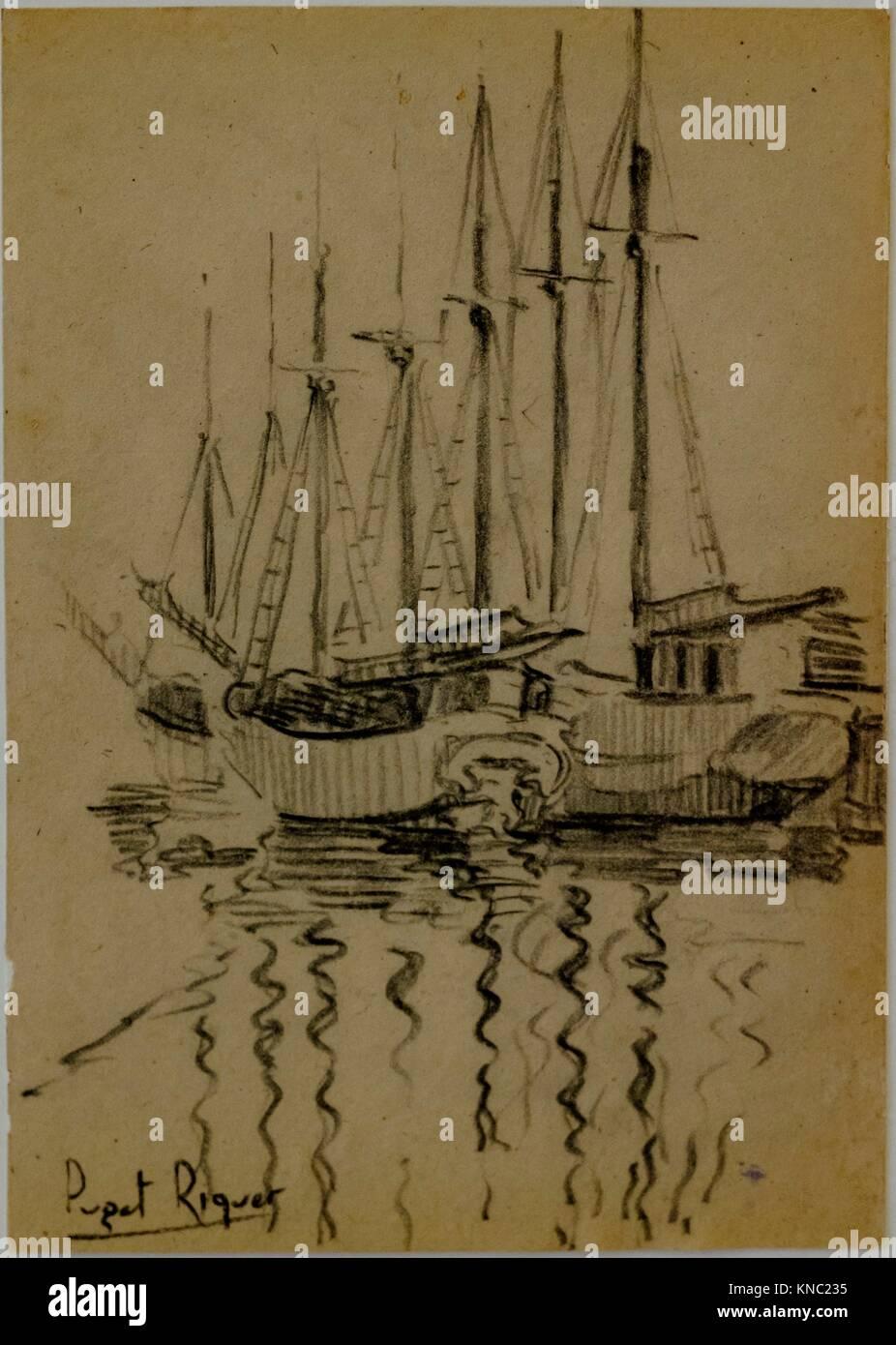 veleros, Narcís Puget Riquer, Charcoal drawing, Puget Museum, casa noble de Can LLaudis , Dalt Vila, Ibiza, - Stock Image
