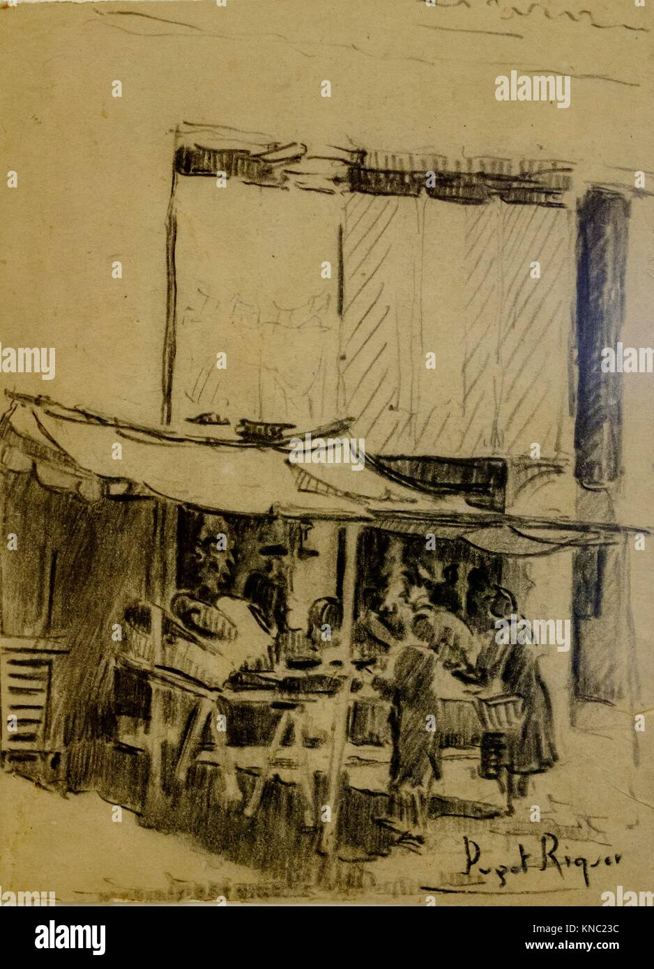 la plaza, Narcís Puget Riquer, Charcoal drawing, Puget Museum, casa noble de Can LLaudis , Dalt Vila, Ibiza, - Stock Image