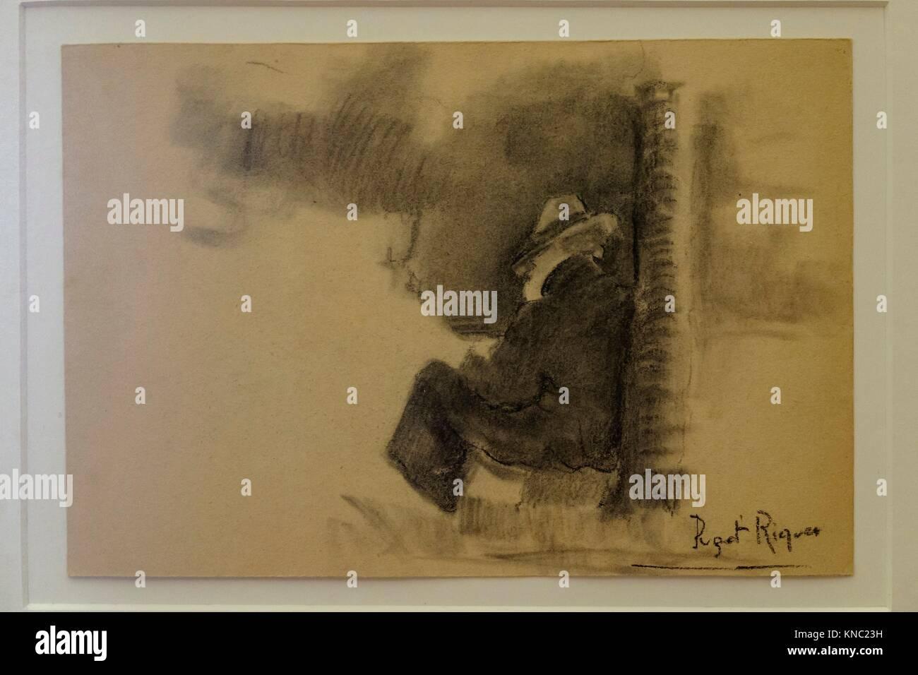 esbozo, Narcís Puget Riquer, Charcoal drawing, Puget Museum, casa noble de Can LLaudis , Dalt Vila, Ibiza, - Stock Image