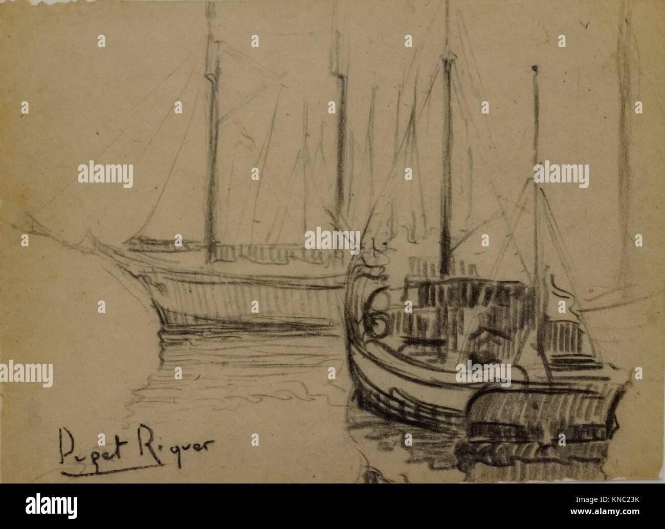 Barcos, Narcís Puget Riquer, Charcoal drawing, Puget Museum, casa noble de Can LLaudis , Dalt Vila, Ibiza, - Stock Image