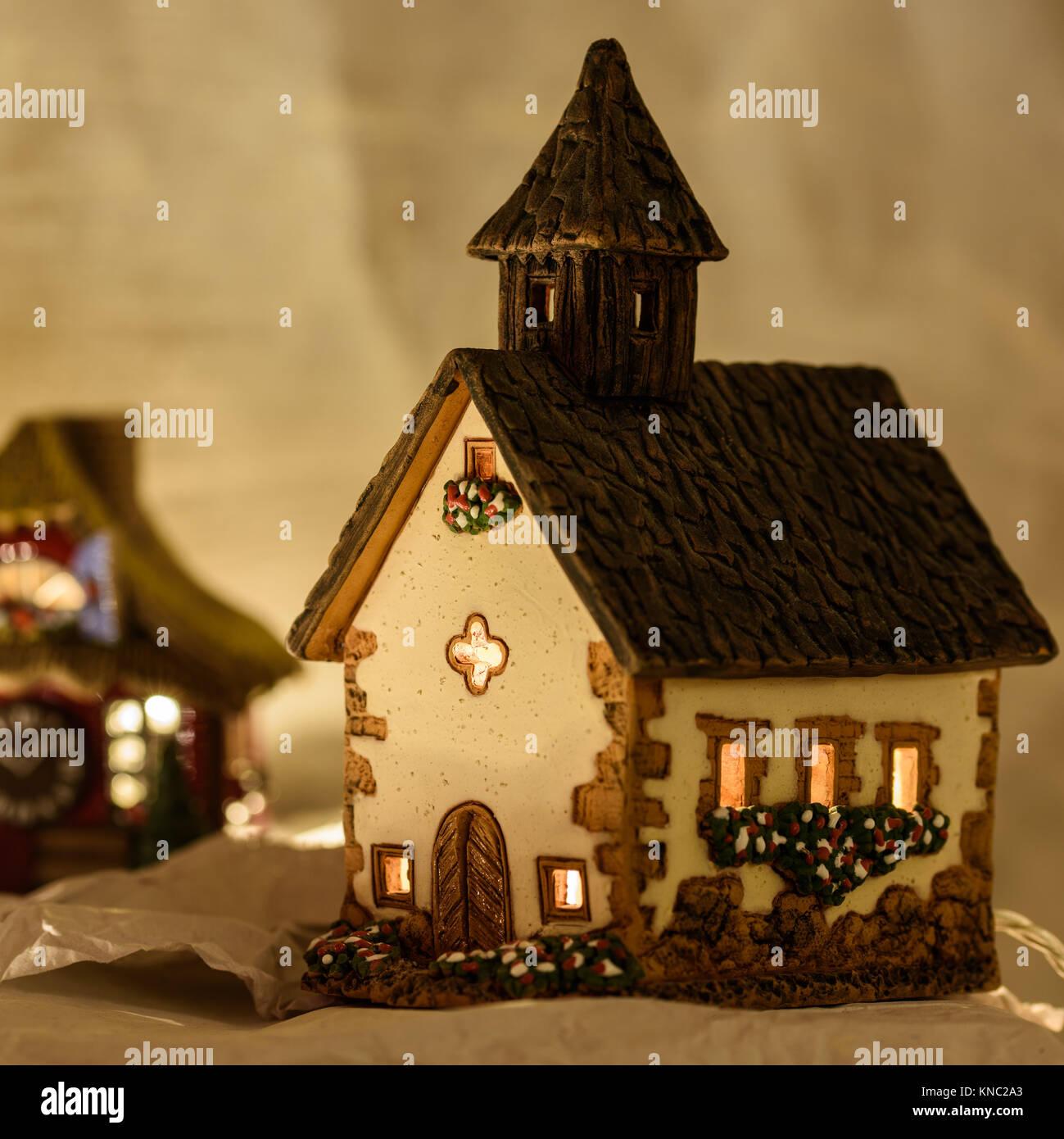 ceramic christmas houses nativity stock image - Ceramic Christmas Houses
