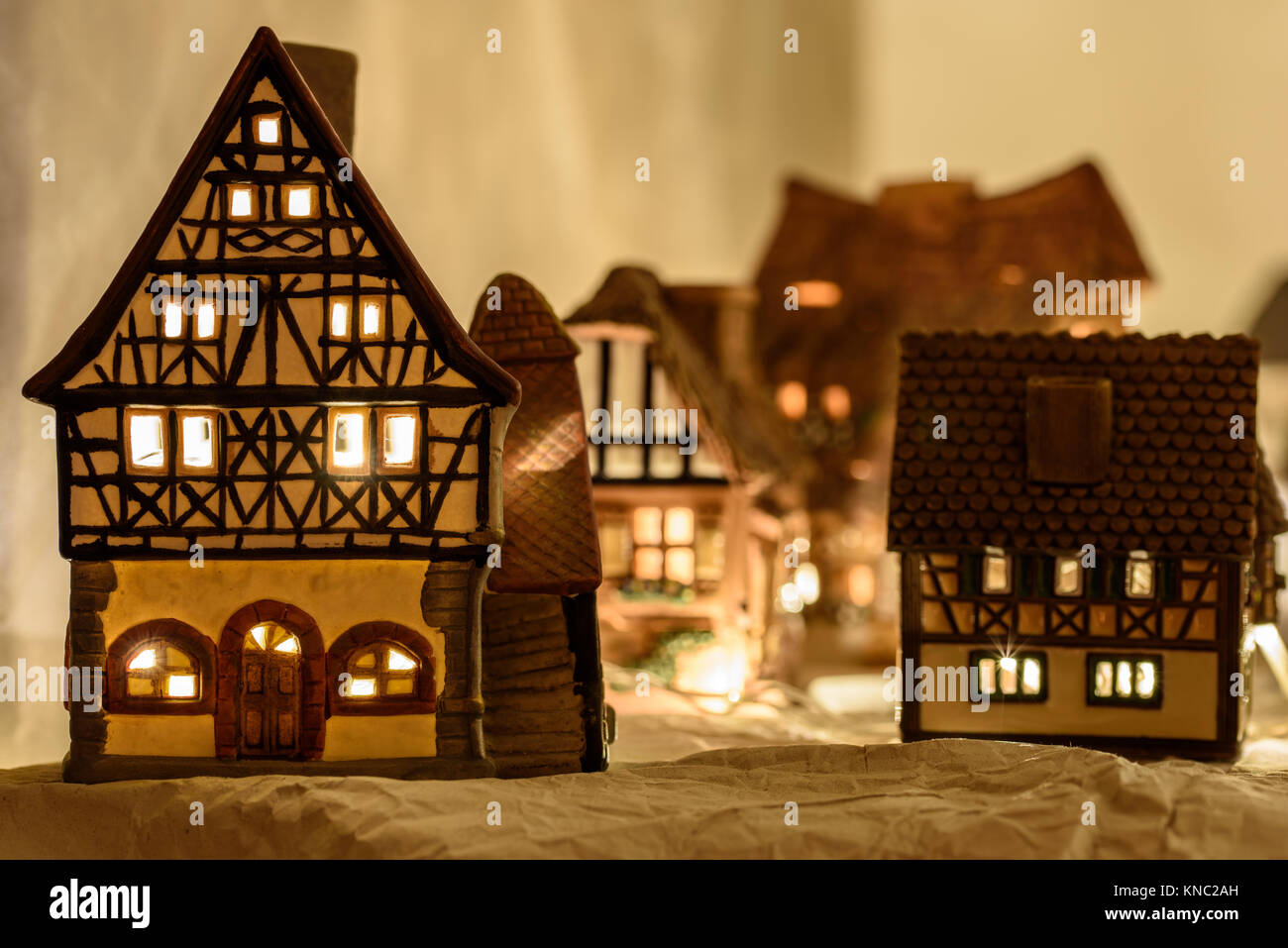 ceramic christmas houses nativity stock image
