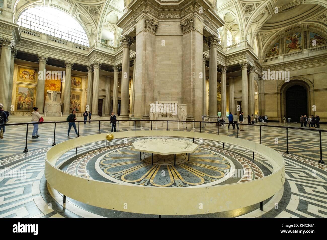 pendulum of Foucault, Panthéon, neoclassical monument, Paris, France - Stock Image
