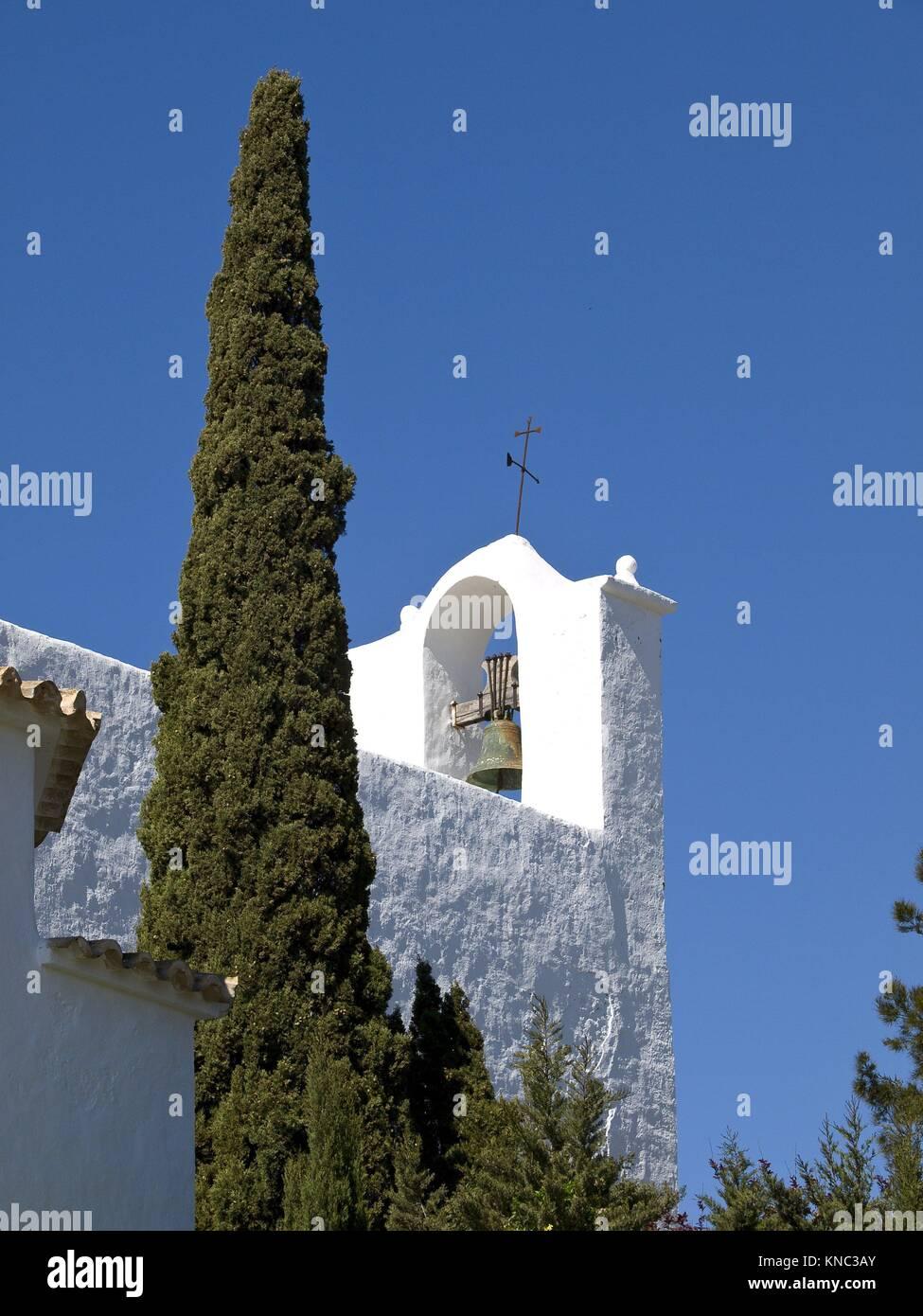 Puig de Missa,Iglesia fortificada(s. XVI). Santa Eularia del Riu. Ibiza. Islas Pitiusas. Baleares. España. - Stock Image