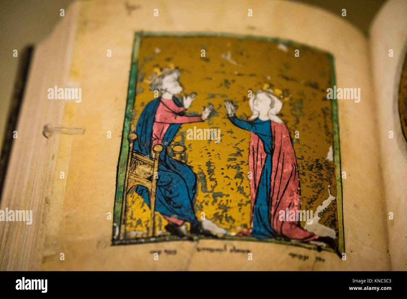 manuscrito hebreo, alrededor de 1278,Museo Judío de Berlín, Berlin, Alemania, Europe. Stock Photo