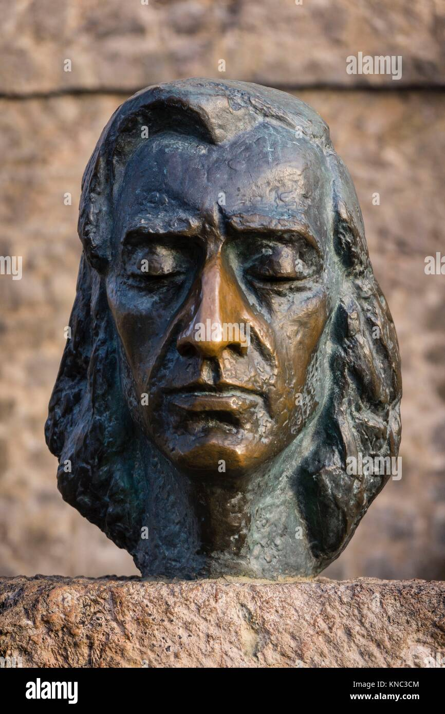 Fryderyk Chopin, escultura realizada por Zofia Wolska, cartuja de Valldemosa, siglo XV, Mallorca, Balearic Islands, Stock Photo