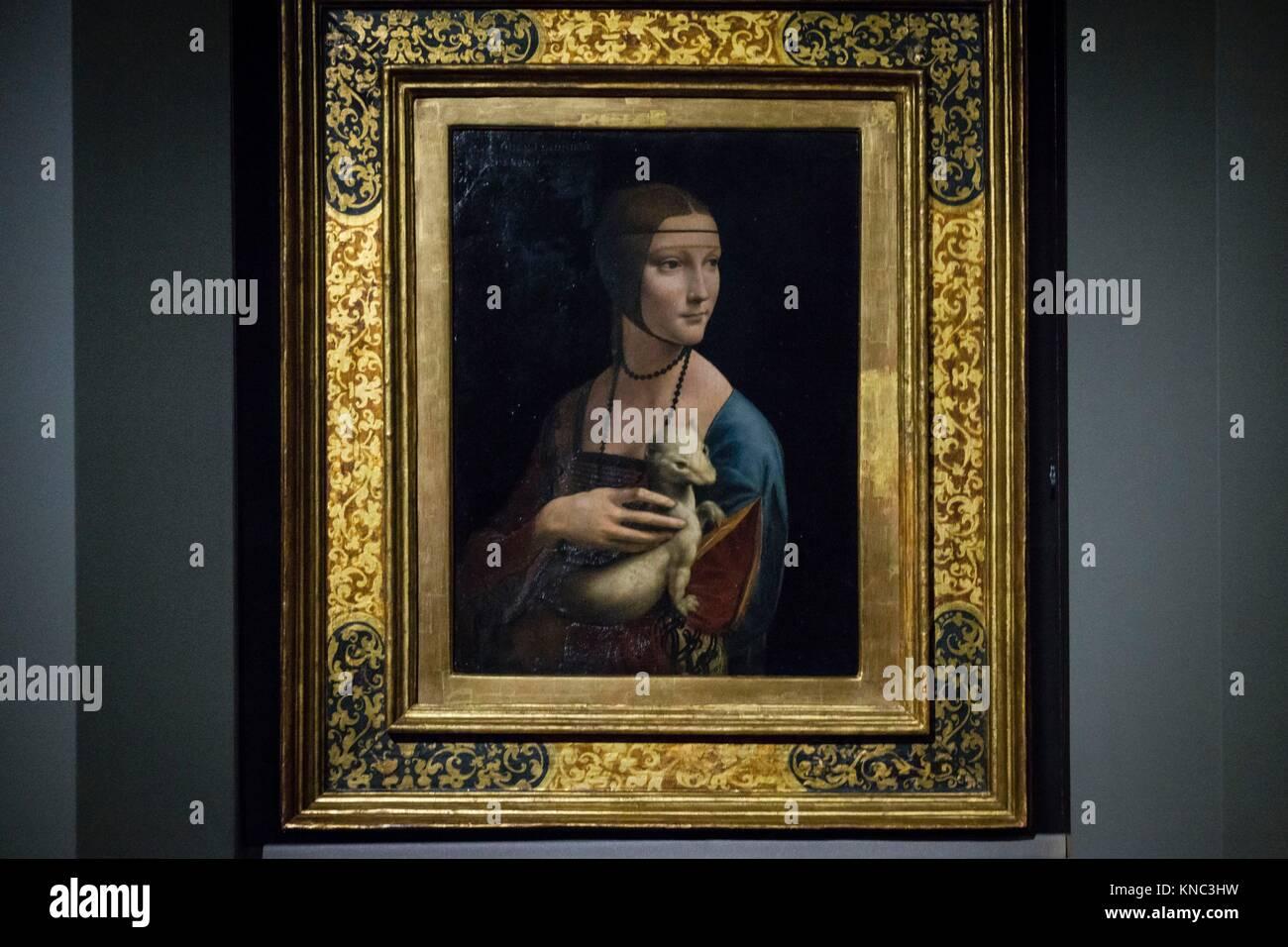 La dama del armiño (La dama con l'ermellino) cuadro del pintor renacentista italiano Leonardo da Vinci,l óleo sobre Stock Photo