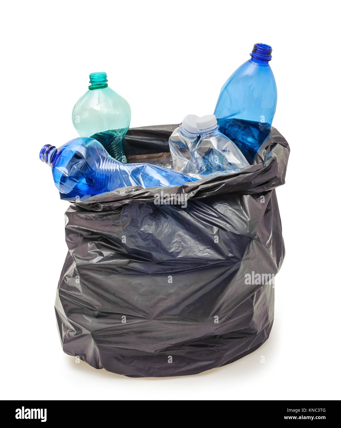 Black garbage bag with plastic bottles isolated on white - Stock Image