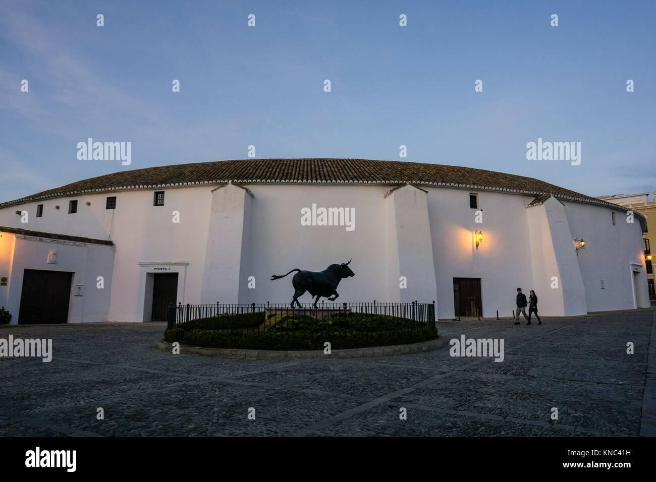 Plaza de Toros de Ronda, propiedad de la Real Maestranza de Caballería de Ronda, Ronda, Malaga Province, Andalusia, - Stock Image
