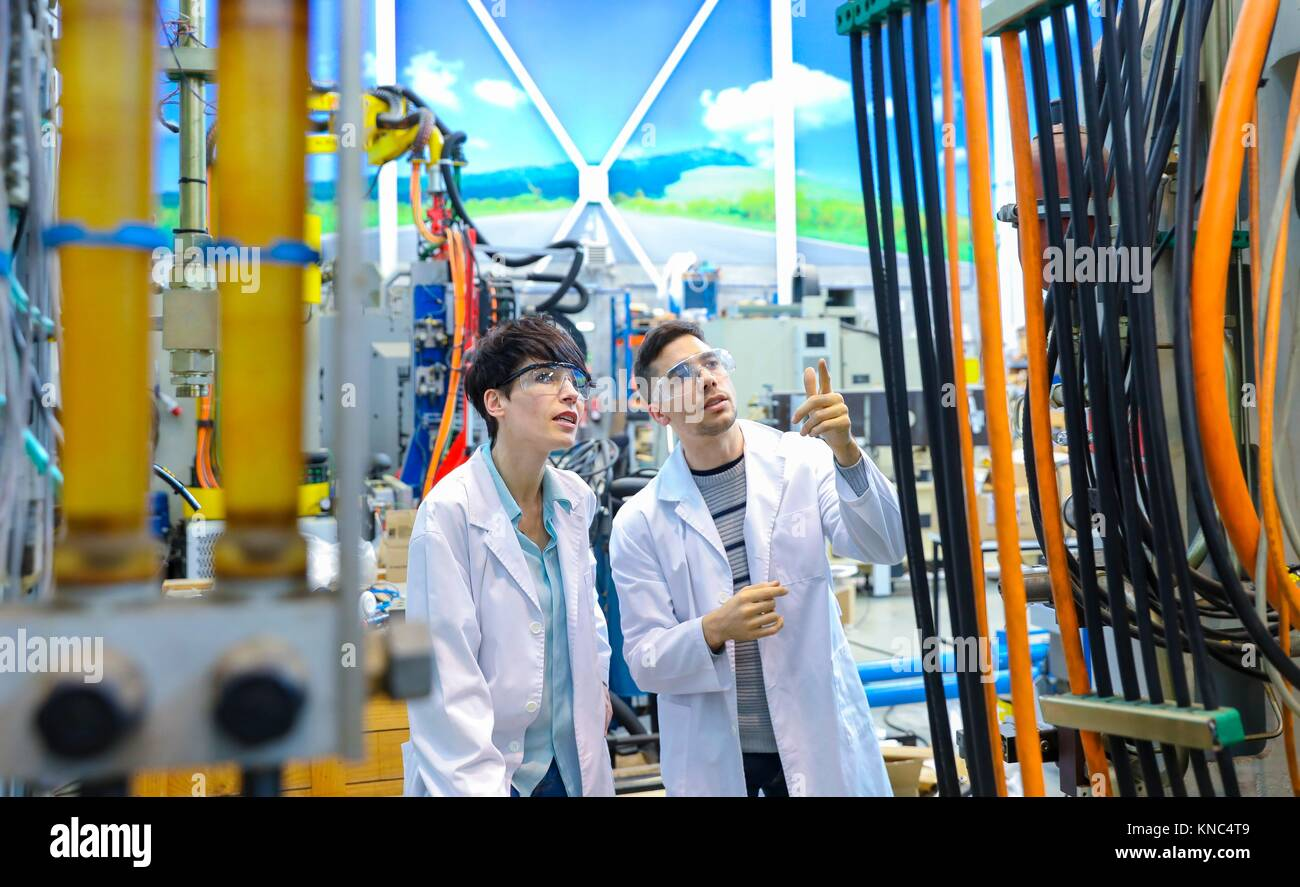 Researchers in machining center, Industry, Tecnalia Research & innovation, Technology and Research Centre, Miramon Technological Park, San Sebastian, Stock Photo
