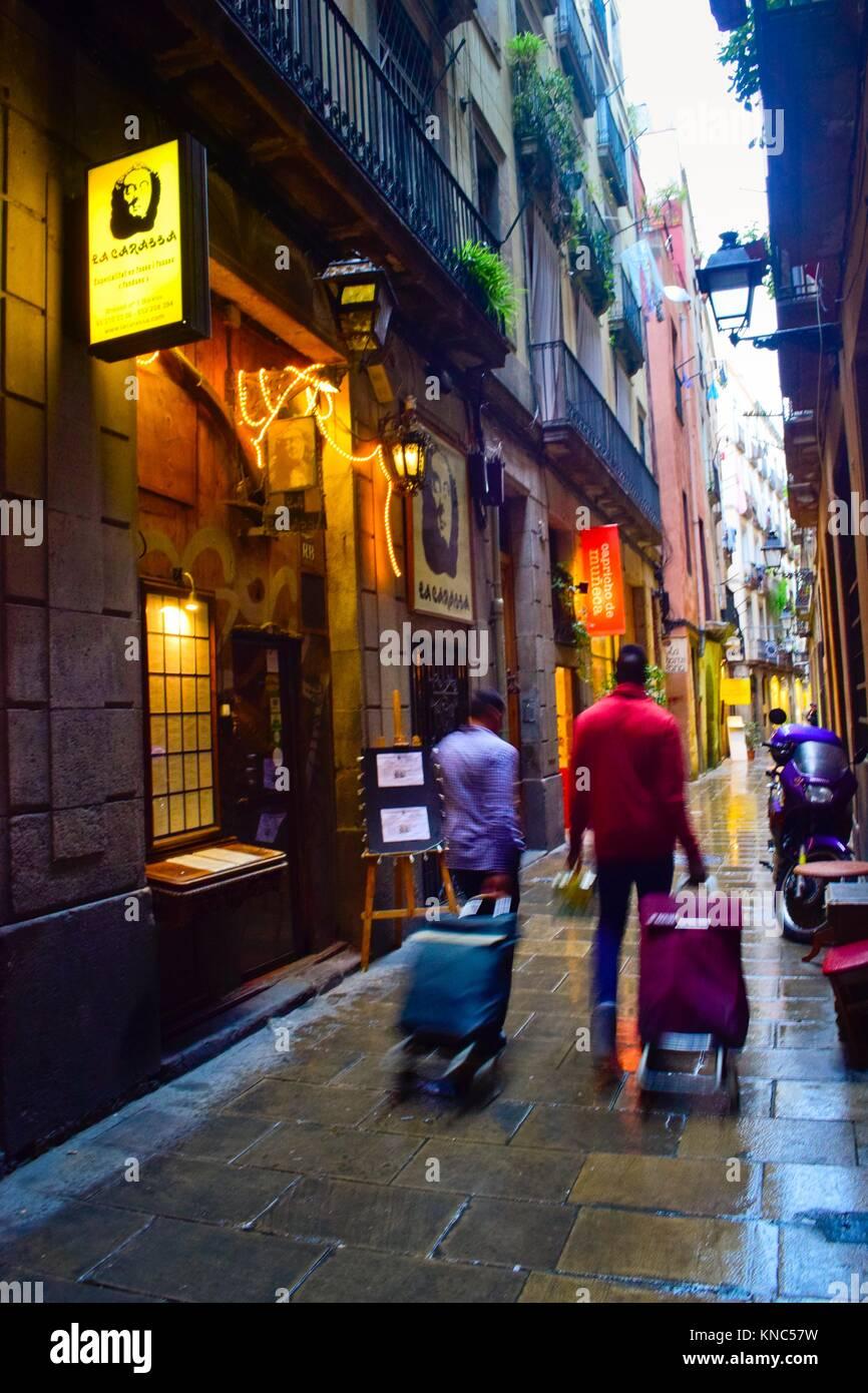 Street. La Ribera, El Born, Ciutat Vella, Barcelona, Catalonia, Spain. - Stock Image