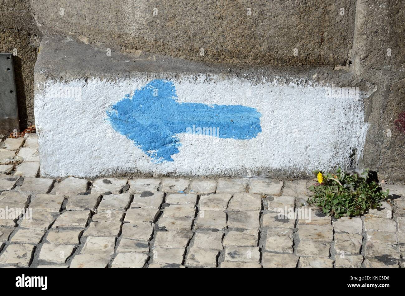 Blue arrow on a wall in Porto indicating the pilgrimage route of Fatima Pilgrimage to Fatima Portugal - Stock Image