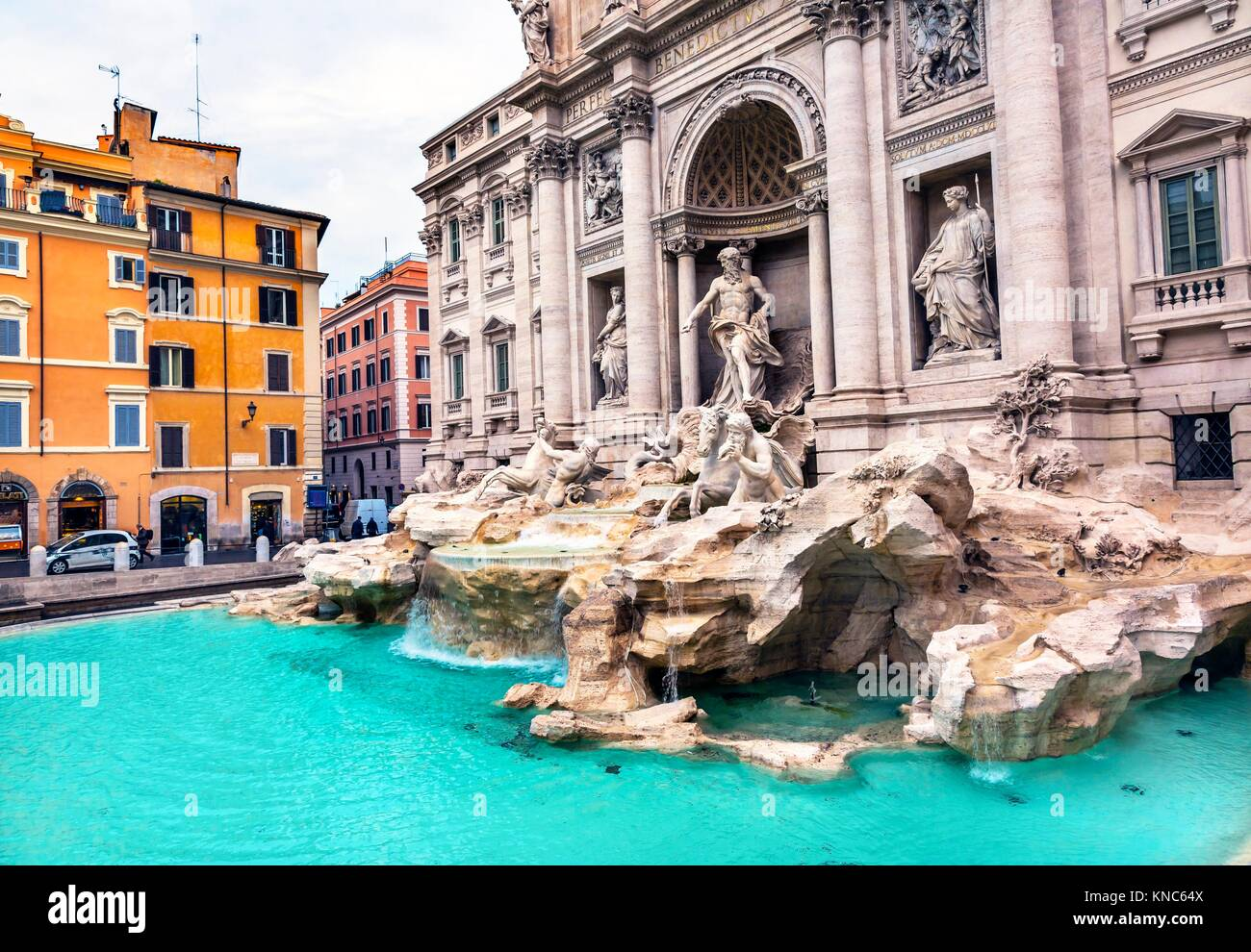 Neptune Nymphs Seahorses Statues Trevi Fountain Piazza Rome Italy. Nicola Salvi created the fountain and was constructed - Stock Image