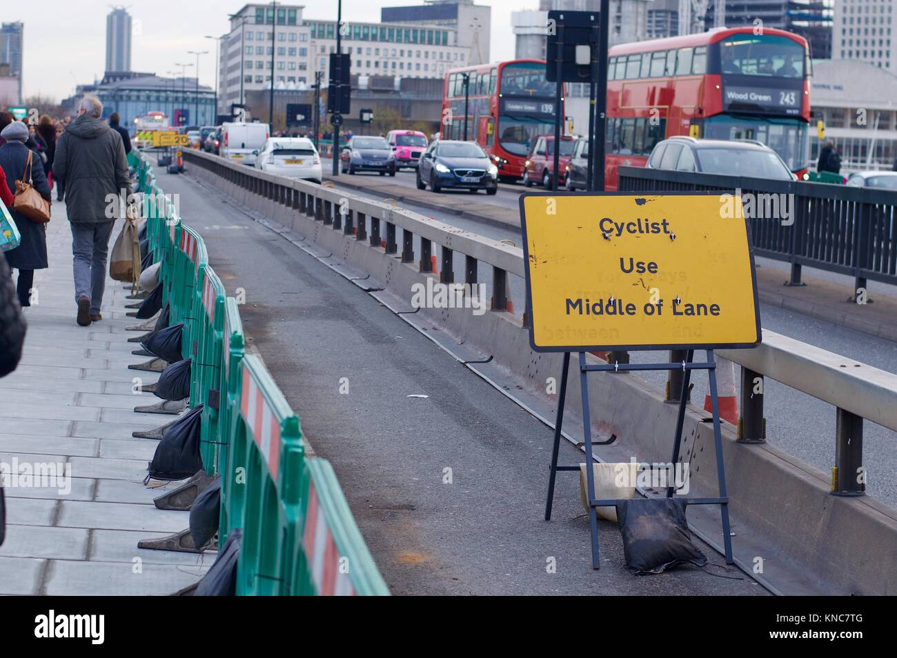 Anti-vehicle barriers on pavement of Waterloo Bridge installed after terror attack at London Bridge, London, UK - Stock Image