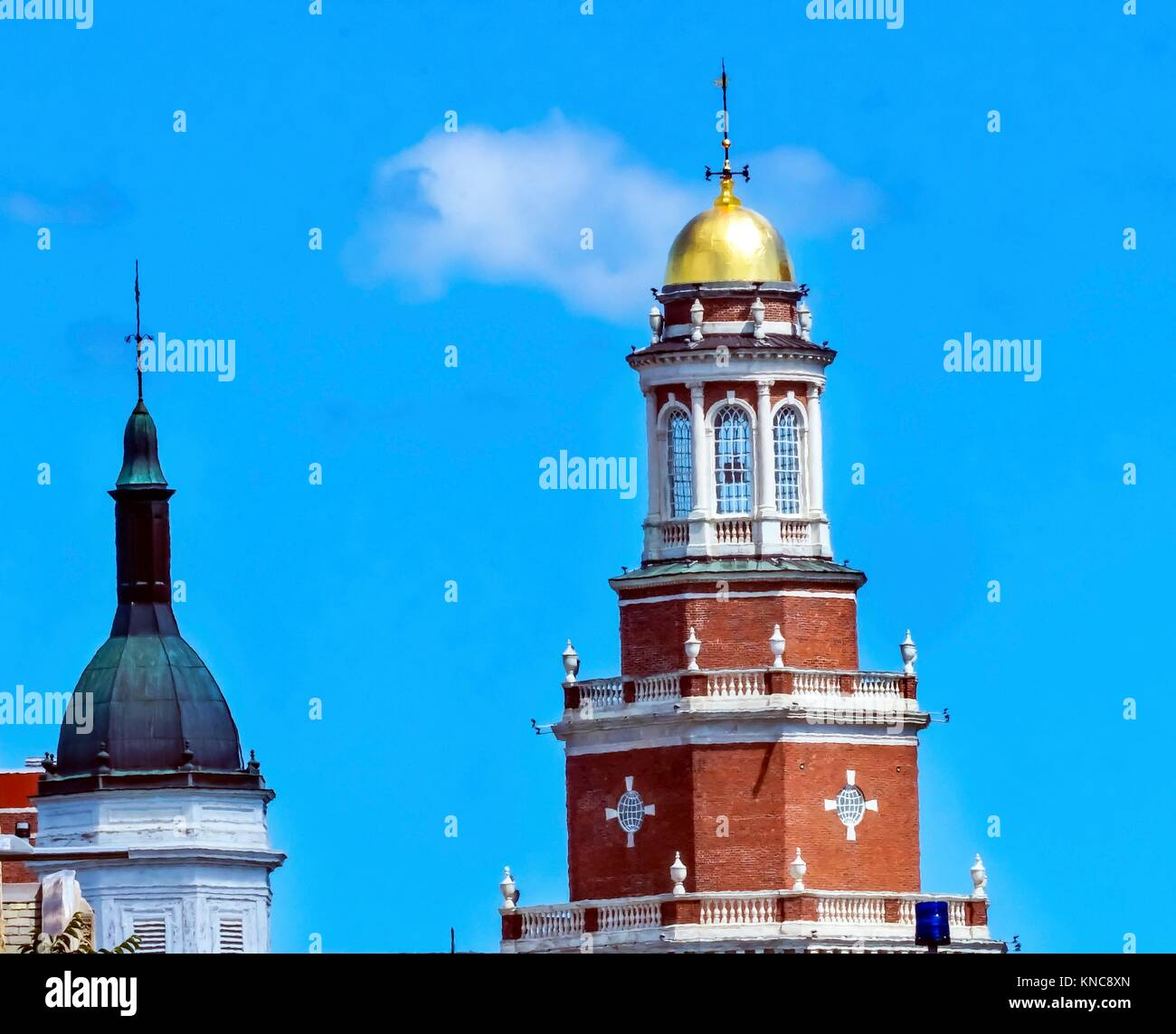 Steeples Golden Cupola Dome Clock Tower Residential College Old Campus Yale University New Haven Connecticut. - Stock Image