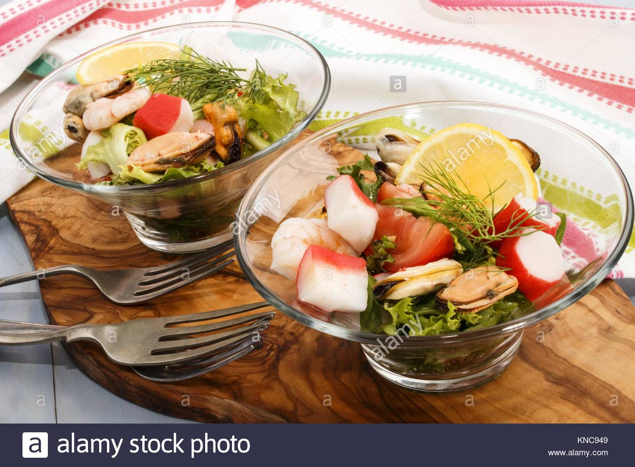 cold fresh seefood slalad, fine dinning with healthy food. - Stock Image