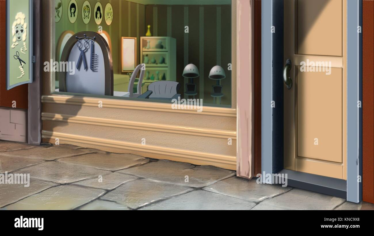 Digital painting of the barbershop. Outdoor. - Stock Image