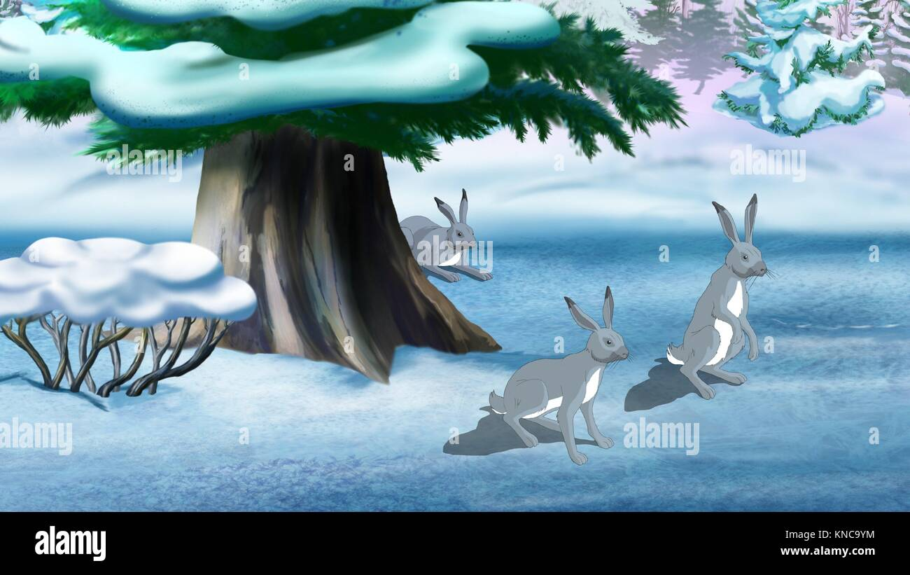 Gray rabbits in the winter forest. Digital painting cartoon style full color illustration. Stock Photo