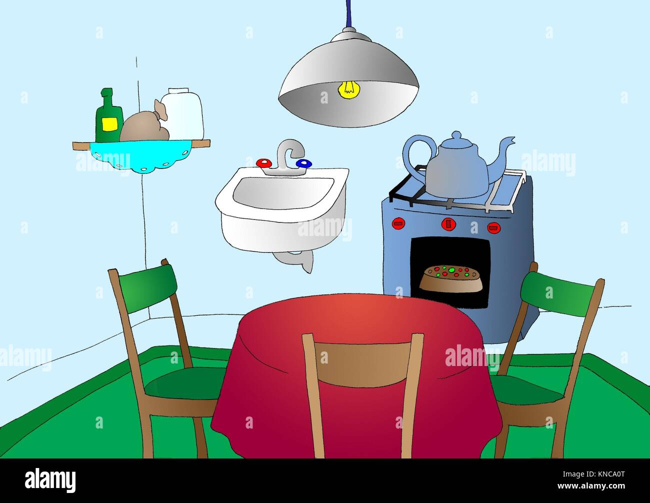 Cartoon Kitchen. Digital Painting Background, Illustration in primitive cartoon style character. - Stock Image