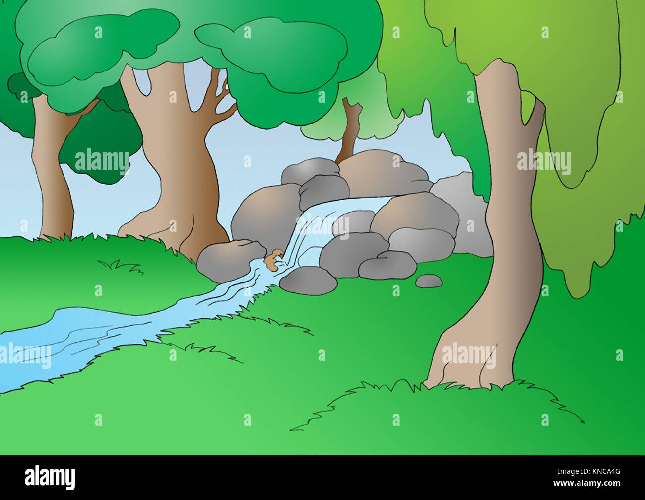 Creek in the Forest in a Summer Day. Digital Painting Background, Illustration in primitive cartoon style character. - Stock Image