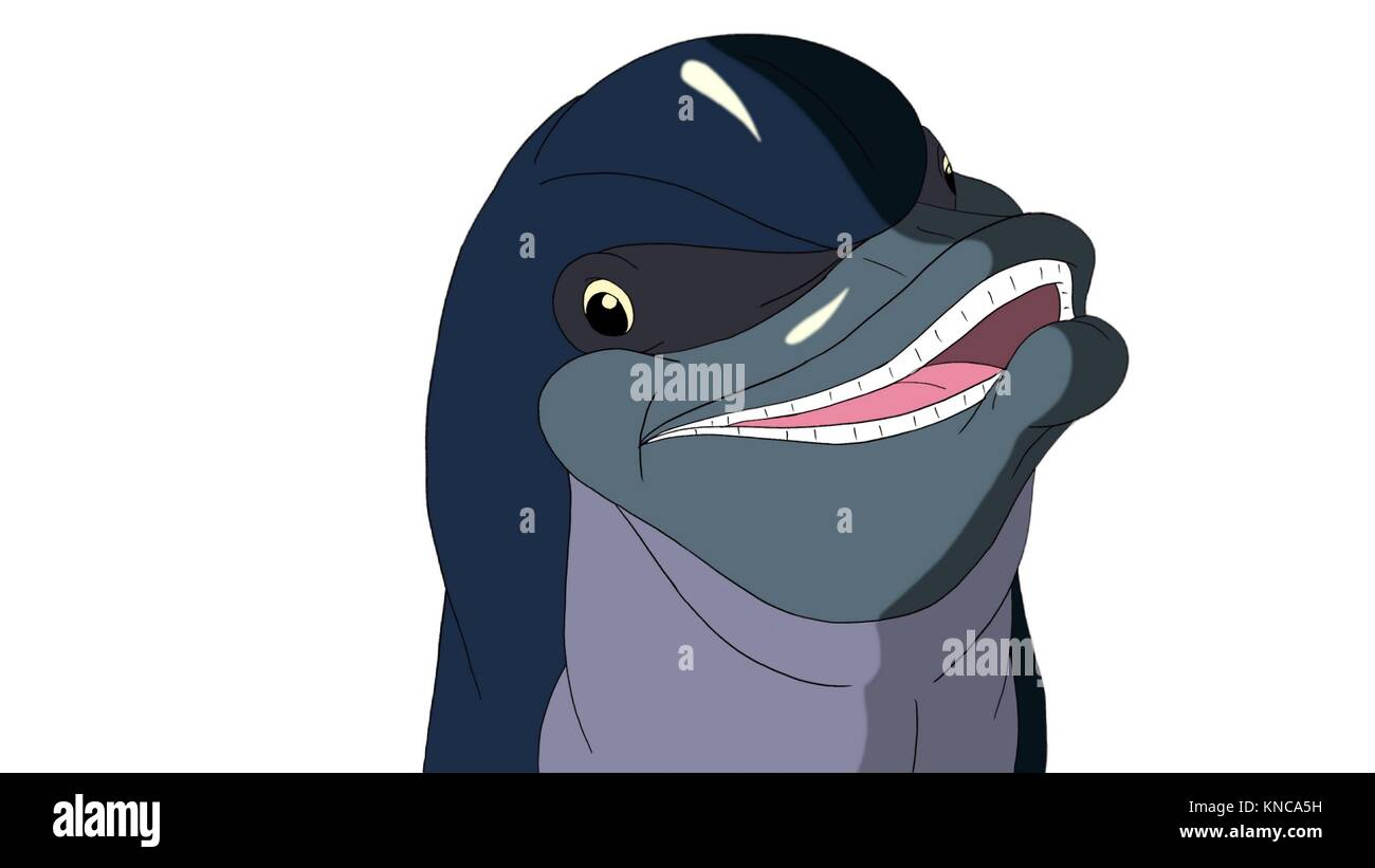 Smiling Playful Dolphin. Digital painting full color cartoon style illustration isolated on white background. - Stock Image