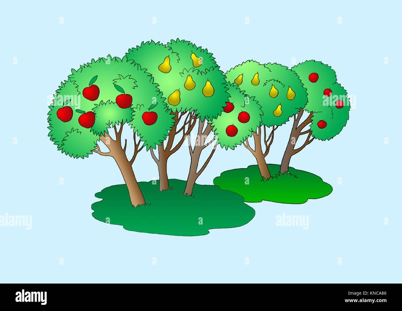 Fruit Trees Illustration. Digital Painting Background, Illustration in primitive cartoon style character. Isolated. - Stock Image