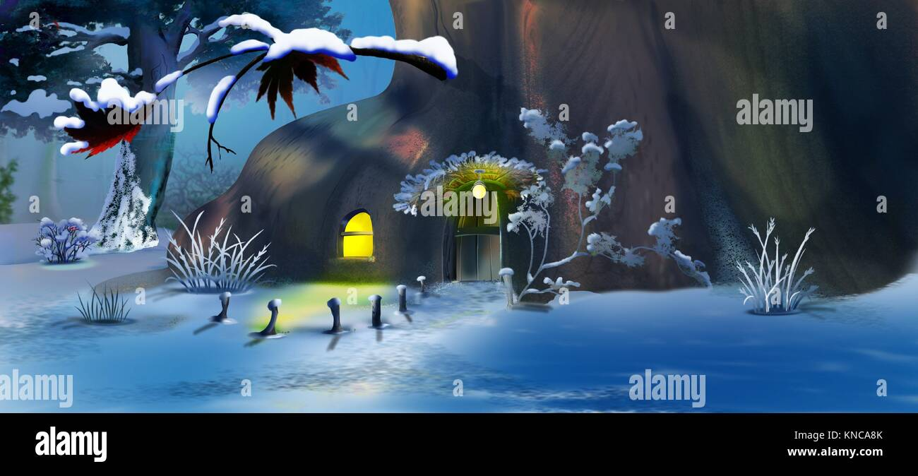 Forest Gnome's House in the New Year's Eve. Panorama View. Handmade illustration in a classic cartoon style. Stock Photo