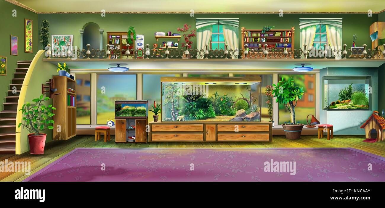 Digital painting of the Home Interior with Aquariums and terrariums. - Stock Image