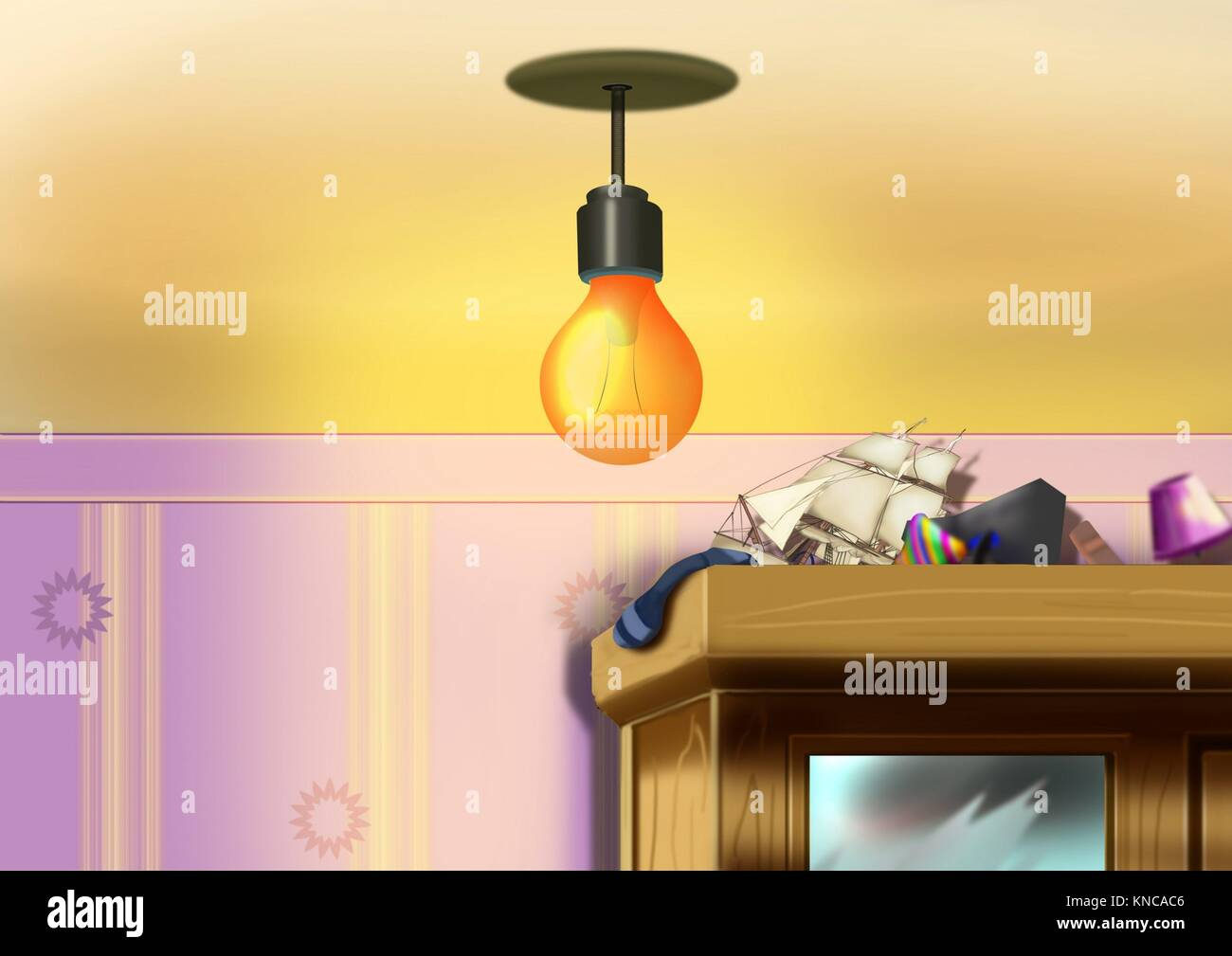 Digital painting of the lamp. - Stock Image