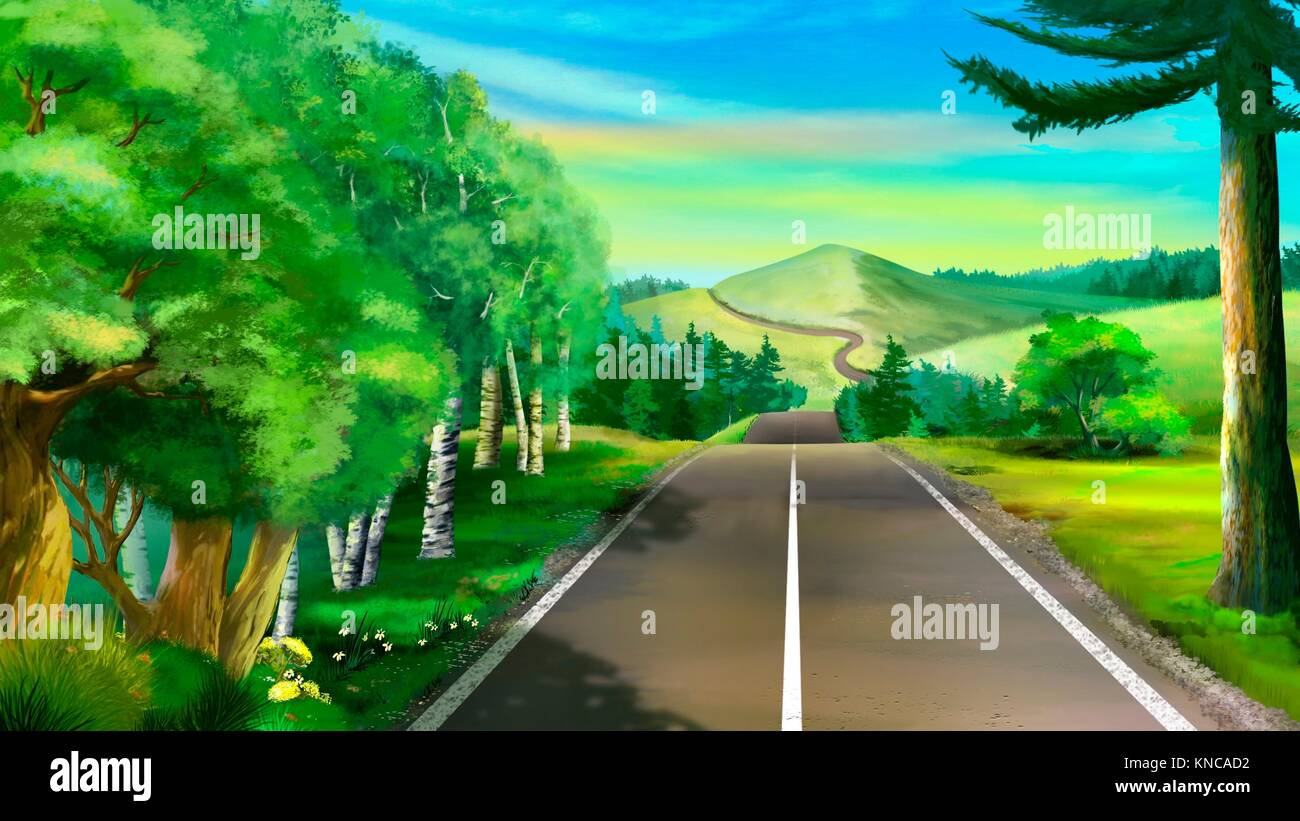 Digital Painting Of The Road To A Mountain Stock Photo Alamy