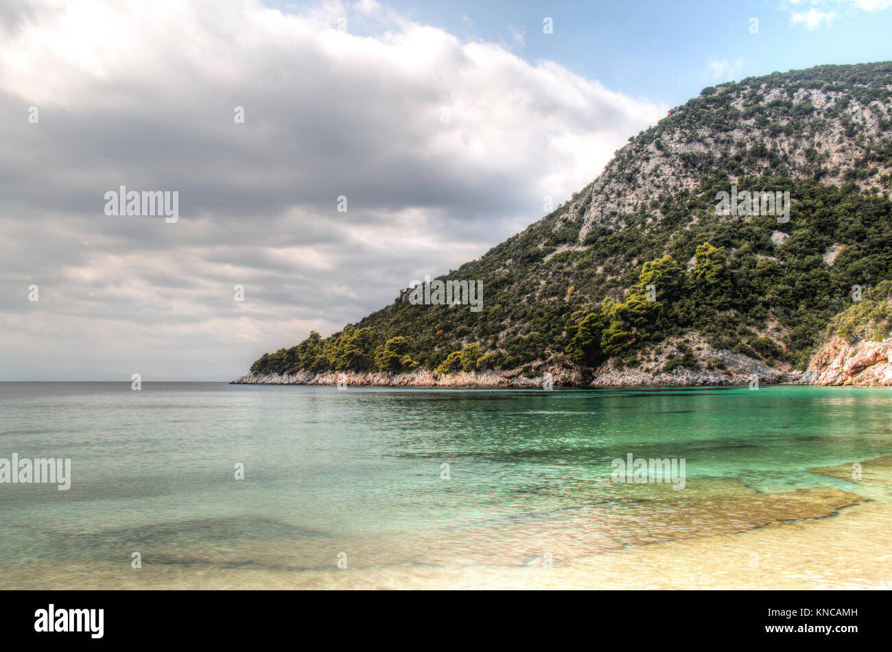 one of the many tropical beaches of skopelos island in greece stock