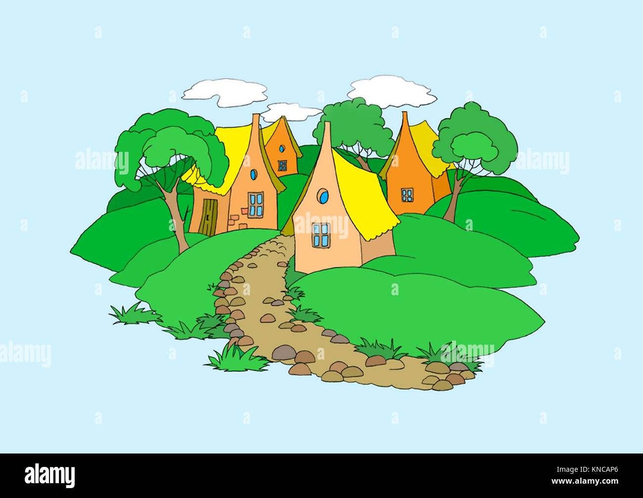 Small Village Illustration. Digital Painting Background, Illustration in primitive cartoon style character. Isolated. - Stock Image