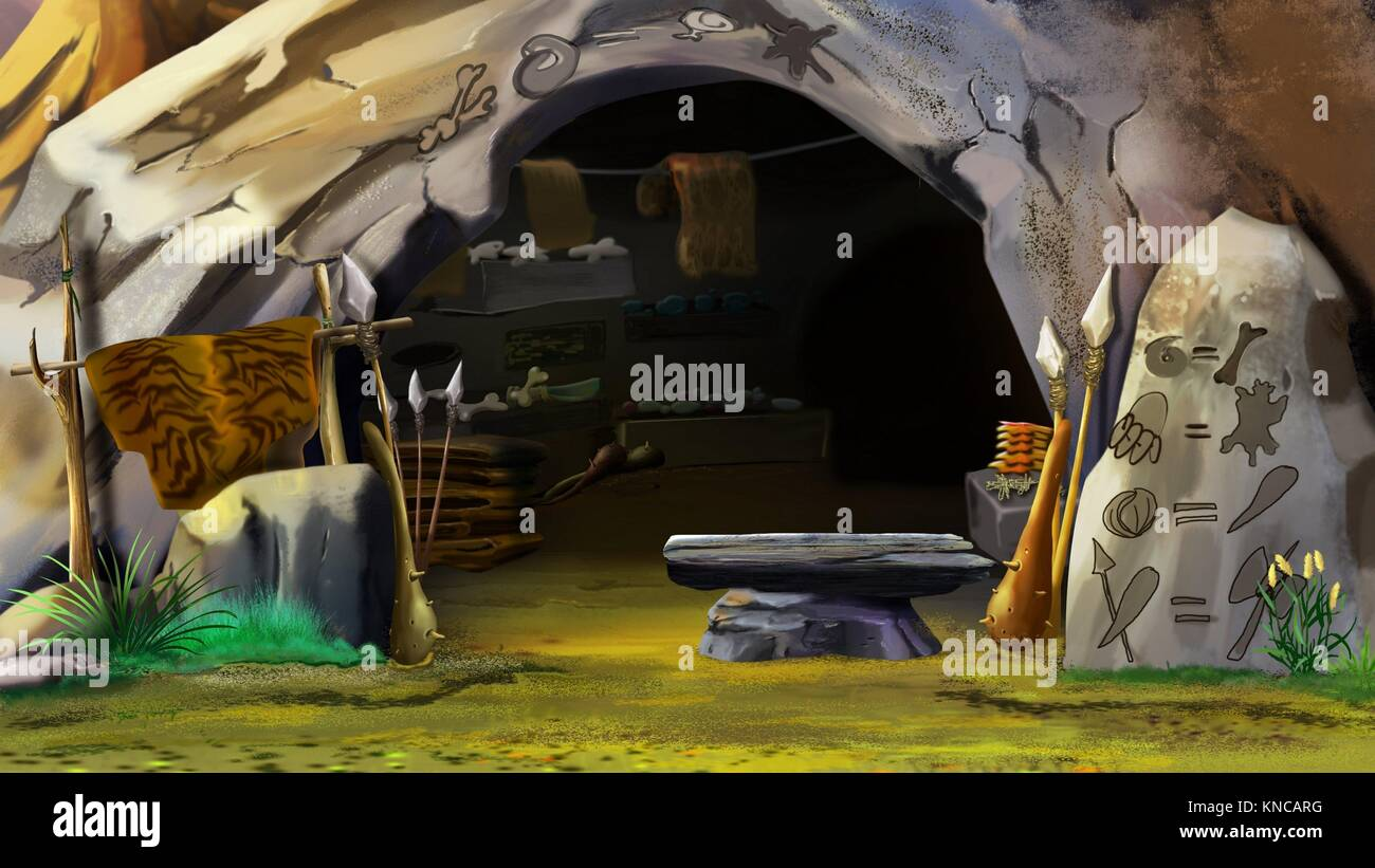 Digital painting of the entrance to the stone cave. Close-up with a stones and objects. - Stock Image