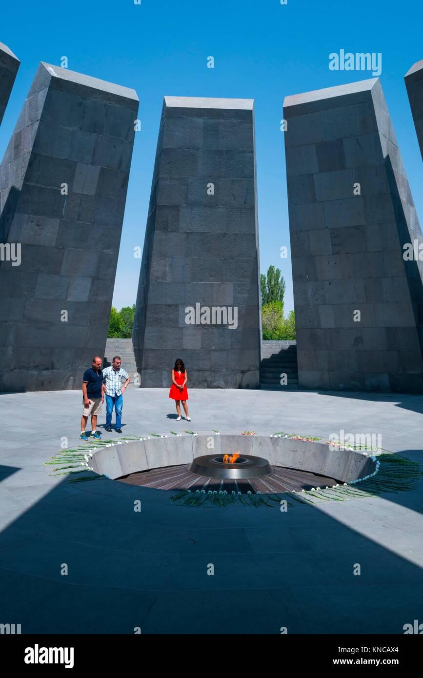 Tsitsernakaberd Genocide Memorial, Armenian Genocide Memorial Complex, Yerevan City, Armenia, Middle East. - Stock Image