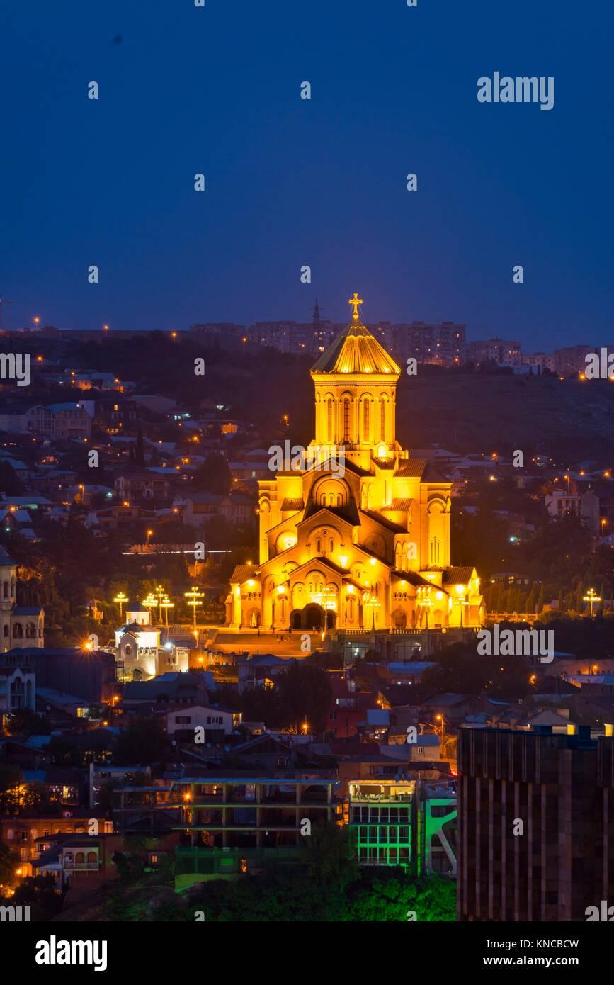 The Holy Trinity Cathedral, Sameba, Tbilisi City, Georgia, Middle East. - Stock Image
