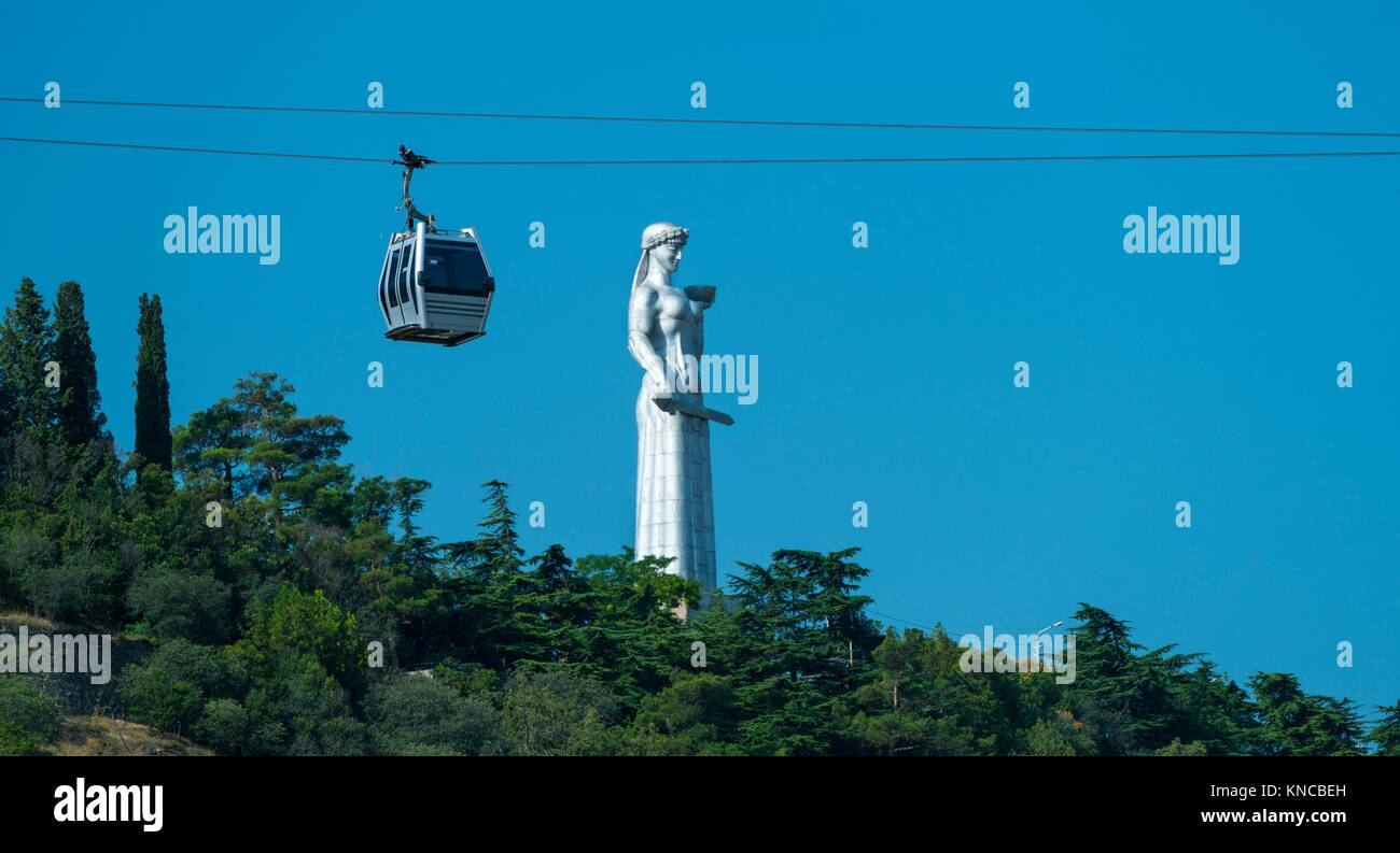 Aerial tramway and Mother of a Georgian statue, Kartlis Deda, Tbilisi City, Georgia, Middle East. Stock Photo