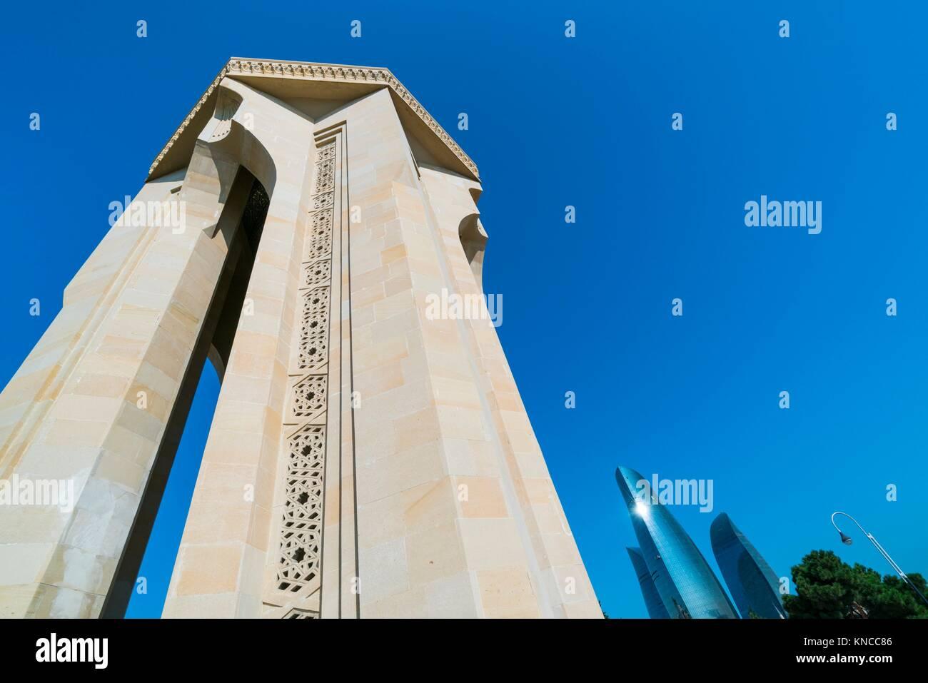Flame Towers, Martyrs' Lane - Alley of Martyrs, Kirov Park, Baku City, Azerbaijan, Middle East. Stock Photo