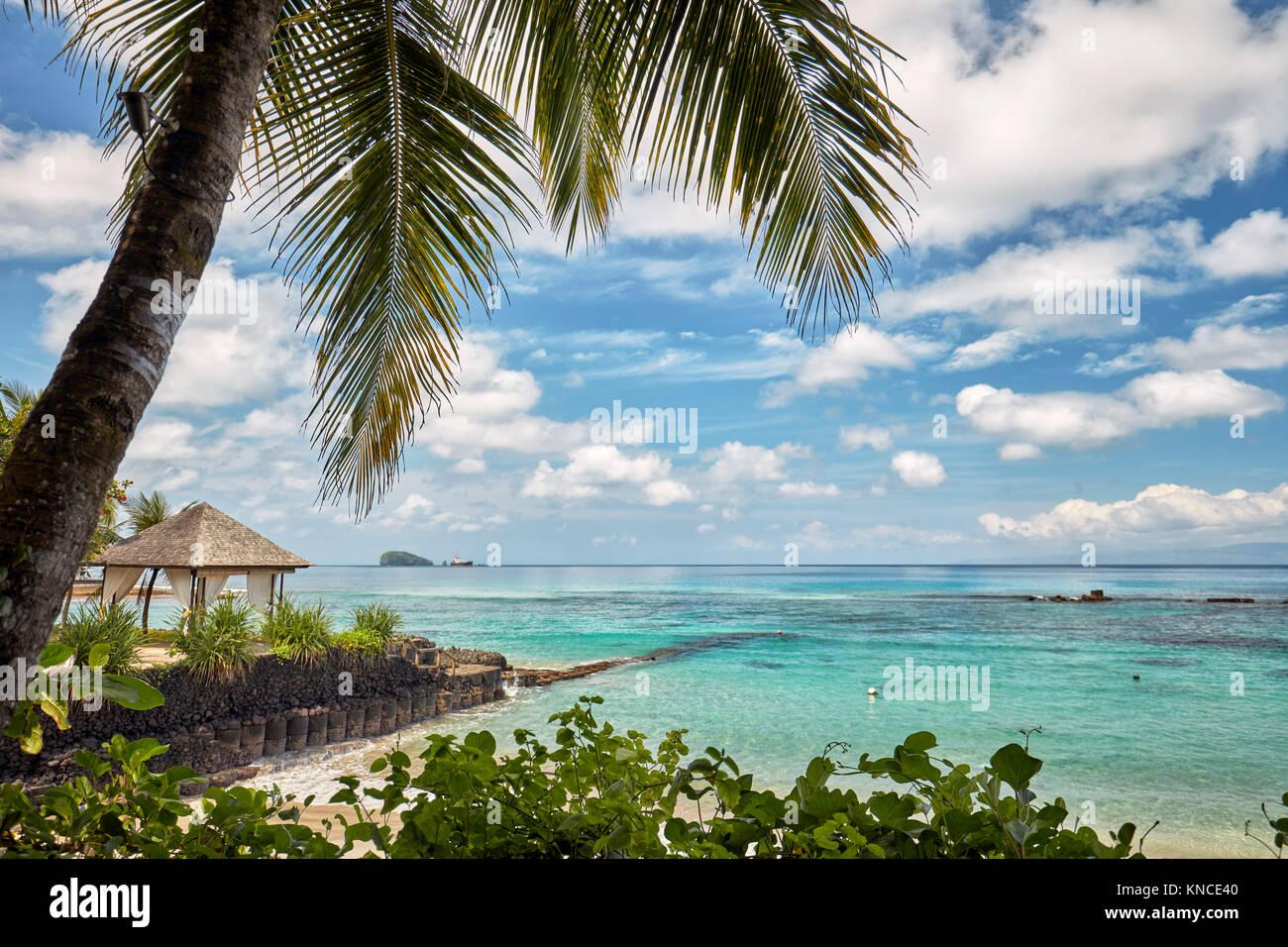 View of the Mendira Bay from Candi Beach Resort and Spa. Candidasa, Manggis subdistrict, Karangasem regency, Bali, Stock Photo