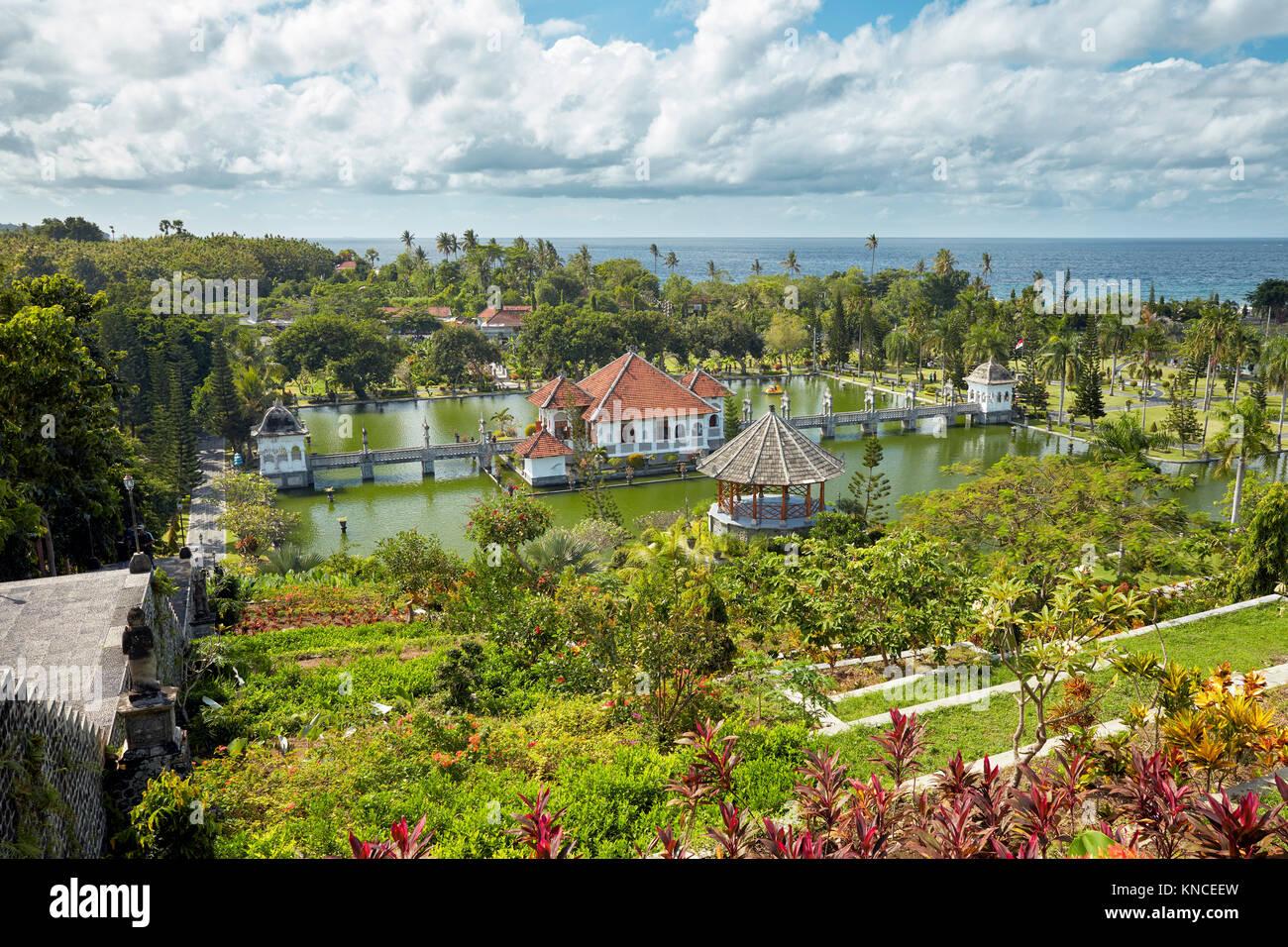 Elevetaed view of Ujung Water Palace (Taman Ujung), also known as Sukasada Park. Karangasem Regency, Bali, Indonesia. - Stock Image