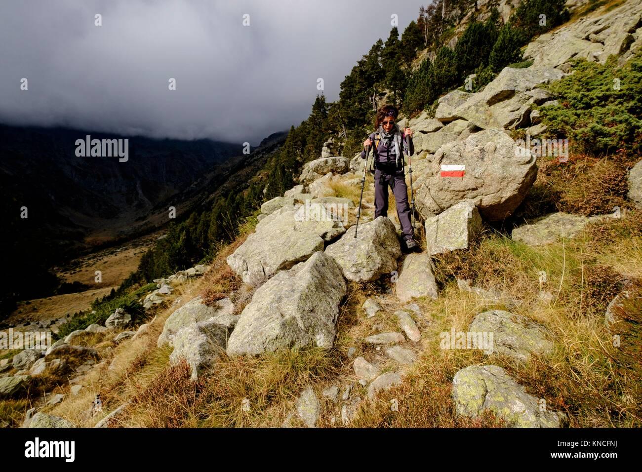 Trekker , Aran , Lleida province, Pyrenean mountain range, Catalonia , Spain - Stock Image